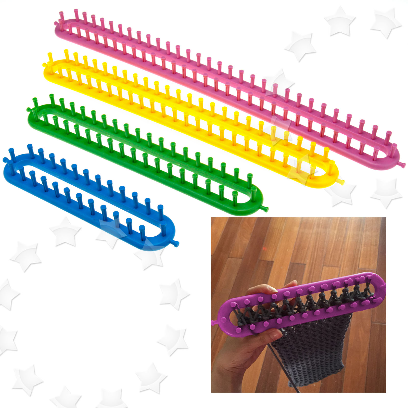Knitting Loom Pom Pom Maker : New different sizes knitting loom rings with pompom