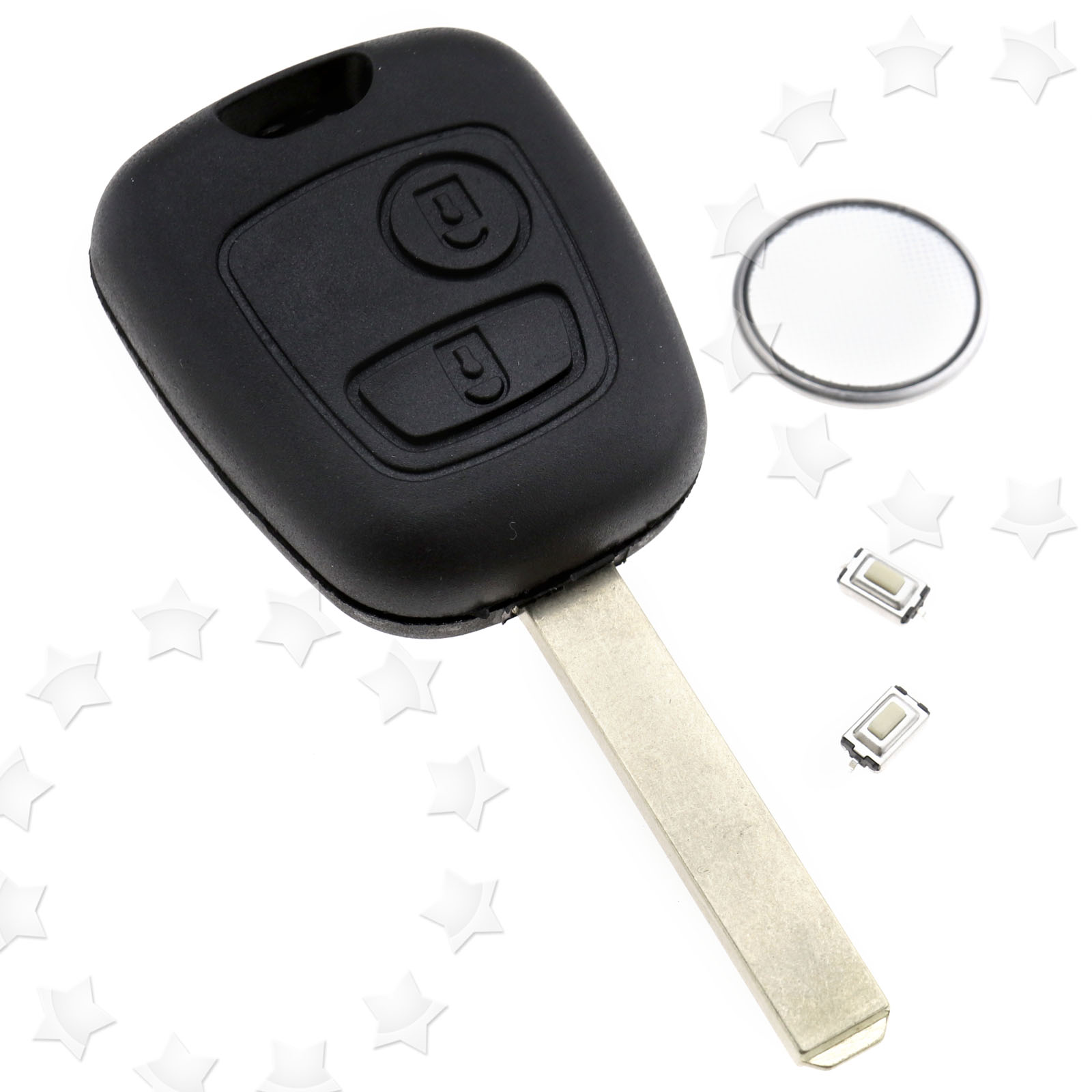 2 button remote key fob case shell for citroen c1 c2 w batteries ebay. Black Bedroom Furniture Sets. Home Design Ideas