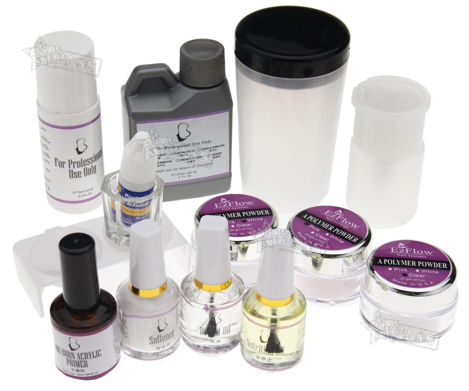 Full Set Premium Acrylic Nail Art Tips Powder Brush