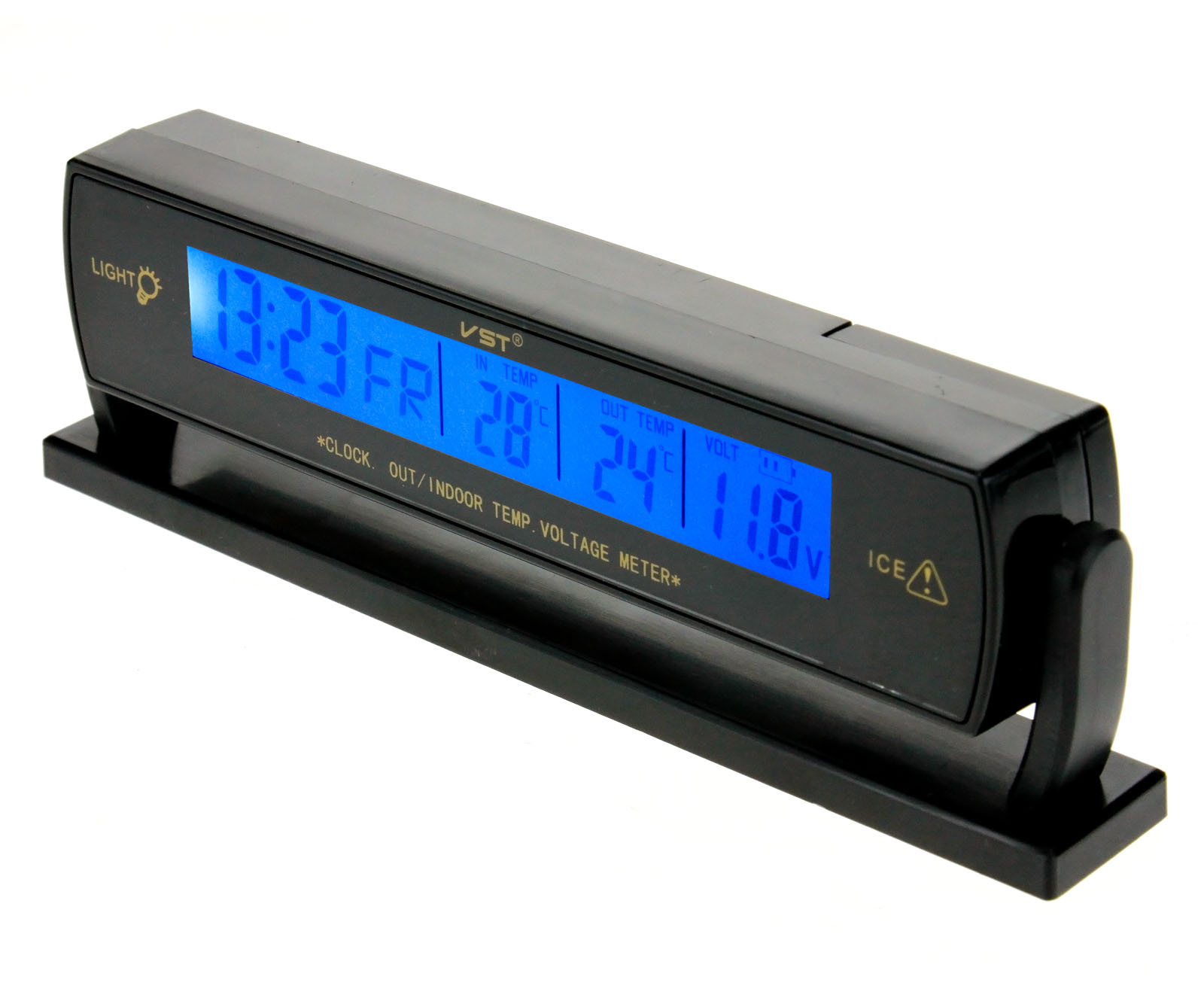 Battery Voltage Monitor : Digital car voltage monitor battery alarm clock lcd