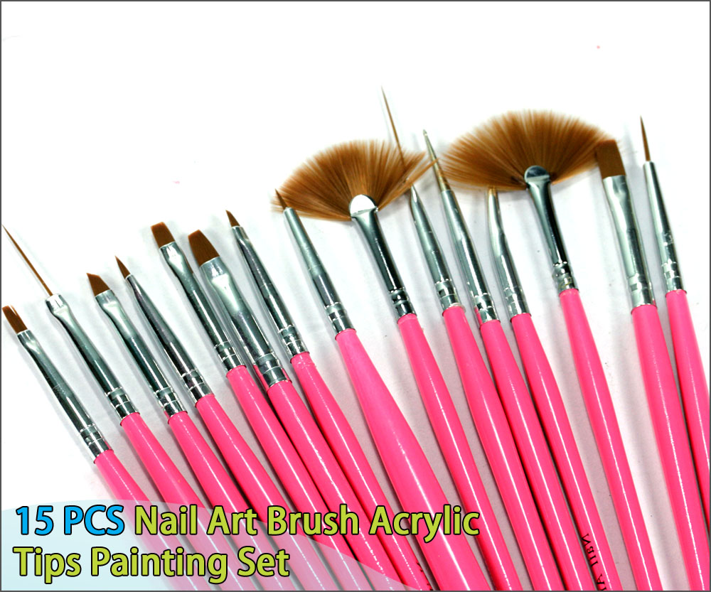 15 pcs nail art uv gel acrylic drawing painting lineing for Acrylic brush techniques