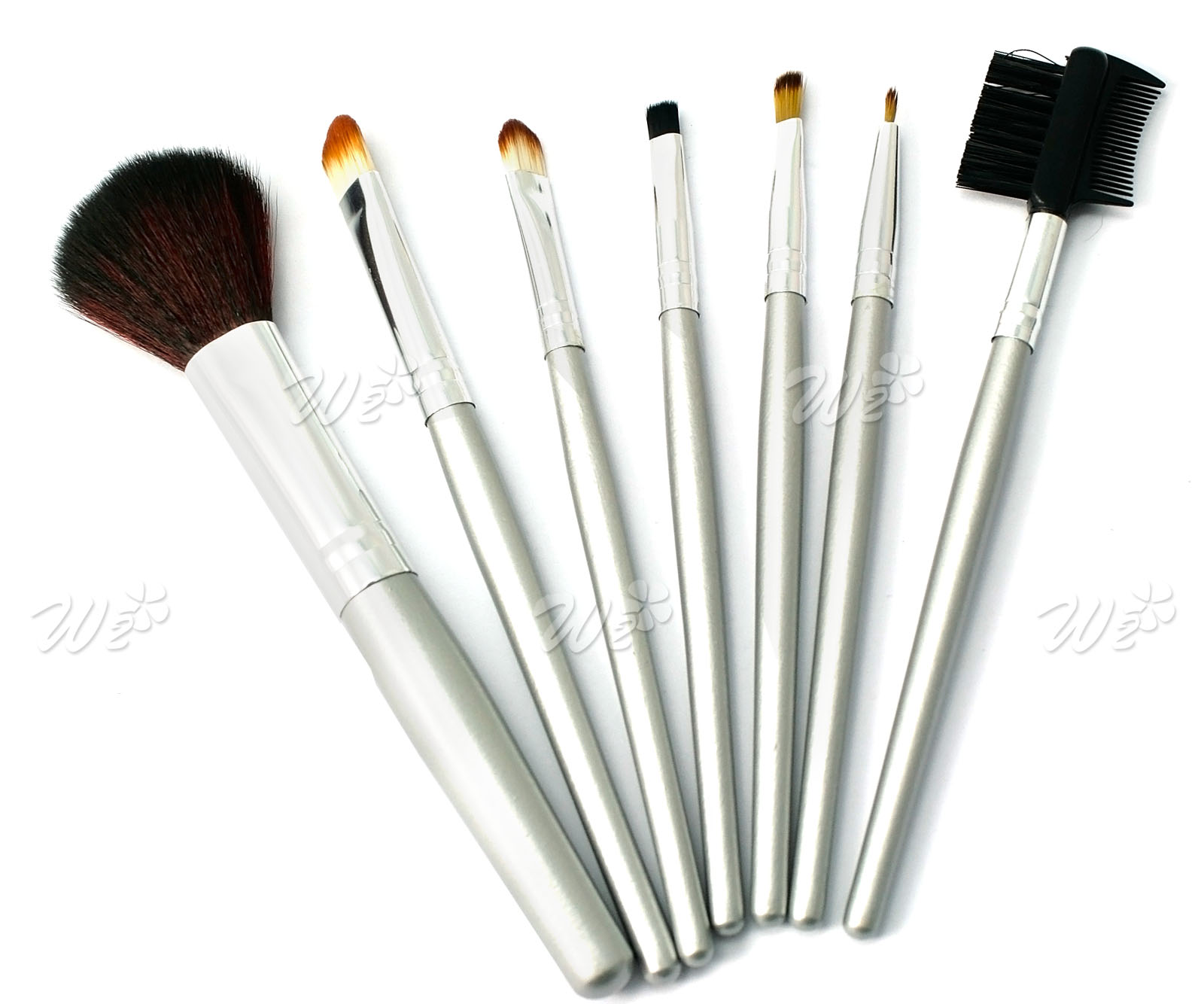 7 make up pinse mit tasche schminken pinselset kosmetik pinsel brush ebay. Black Bedroom Furniture Sets. Home Design Ideas