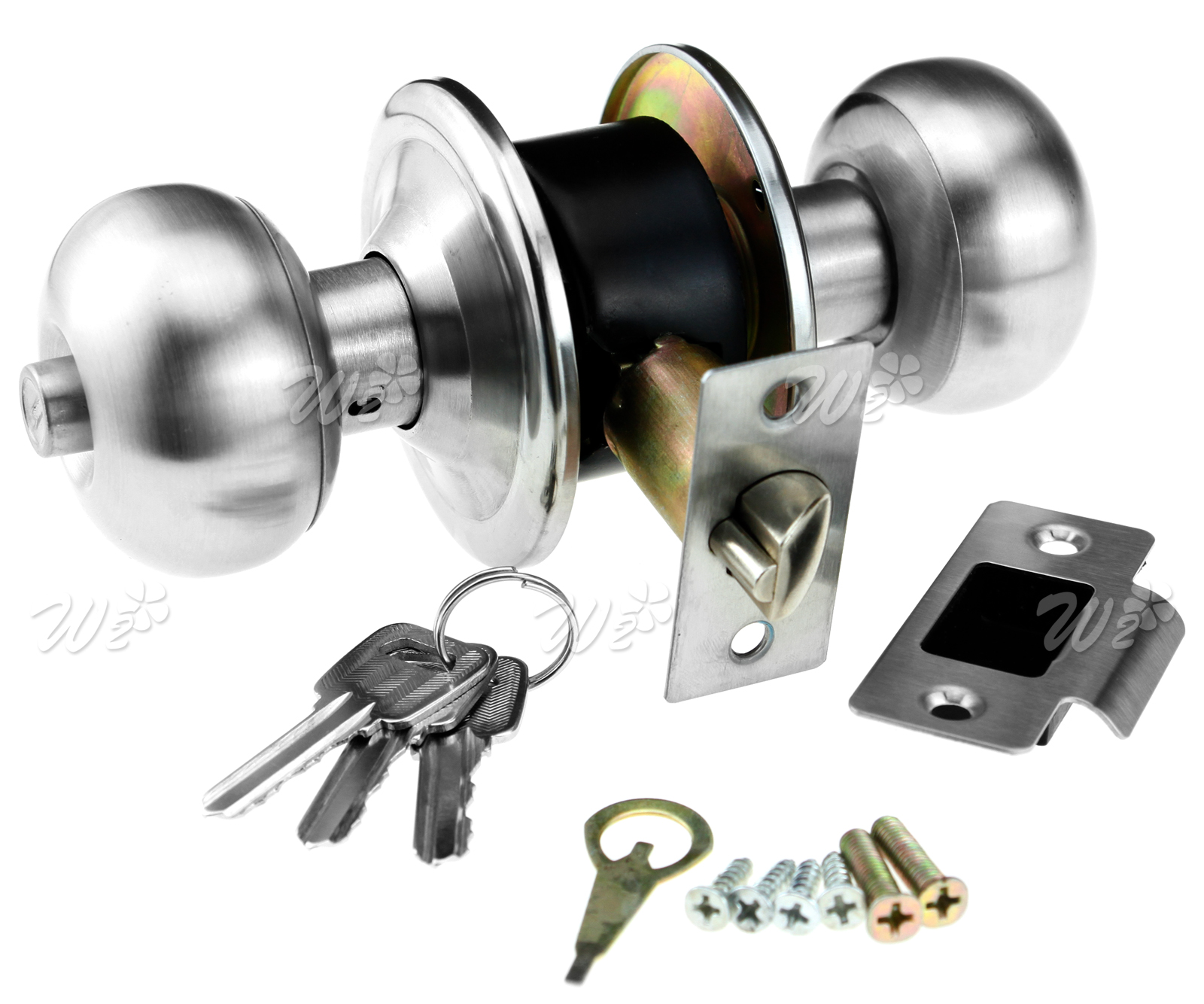 Stainless steel door lock round knob set entrance bathroom - Door handles with locks for bedrooms ...