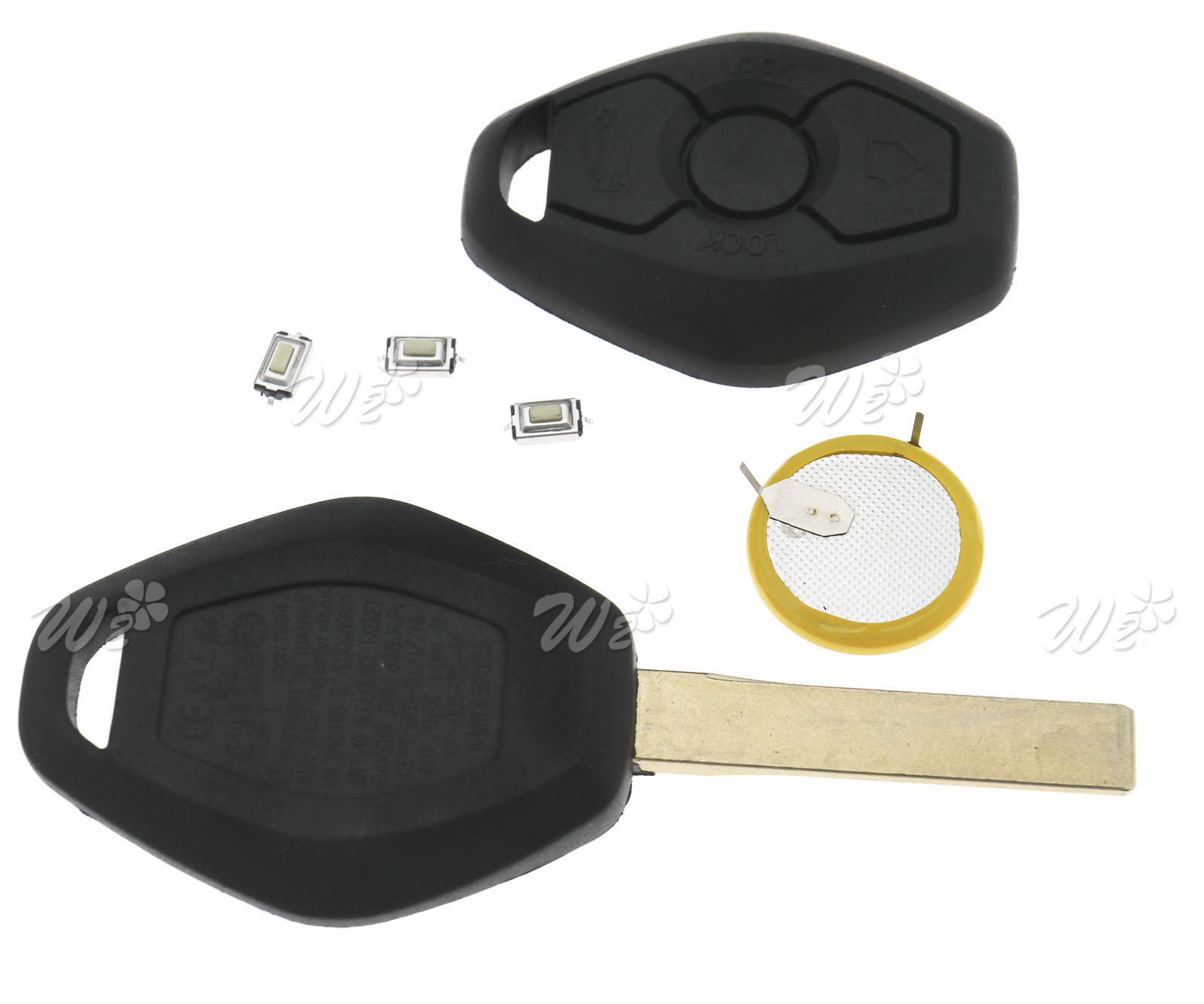Replacement 3 Button Remote Key Fob Lir2025 Battery Kit