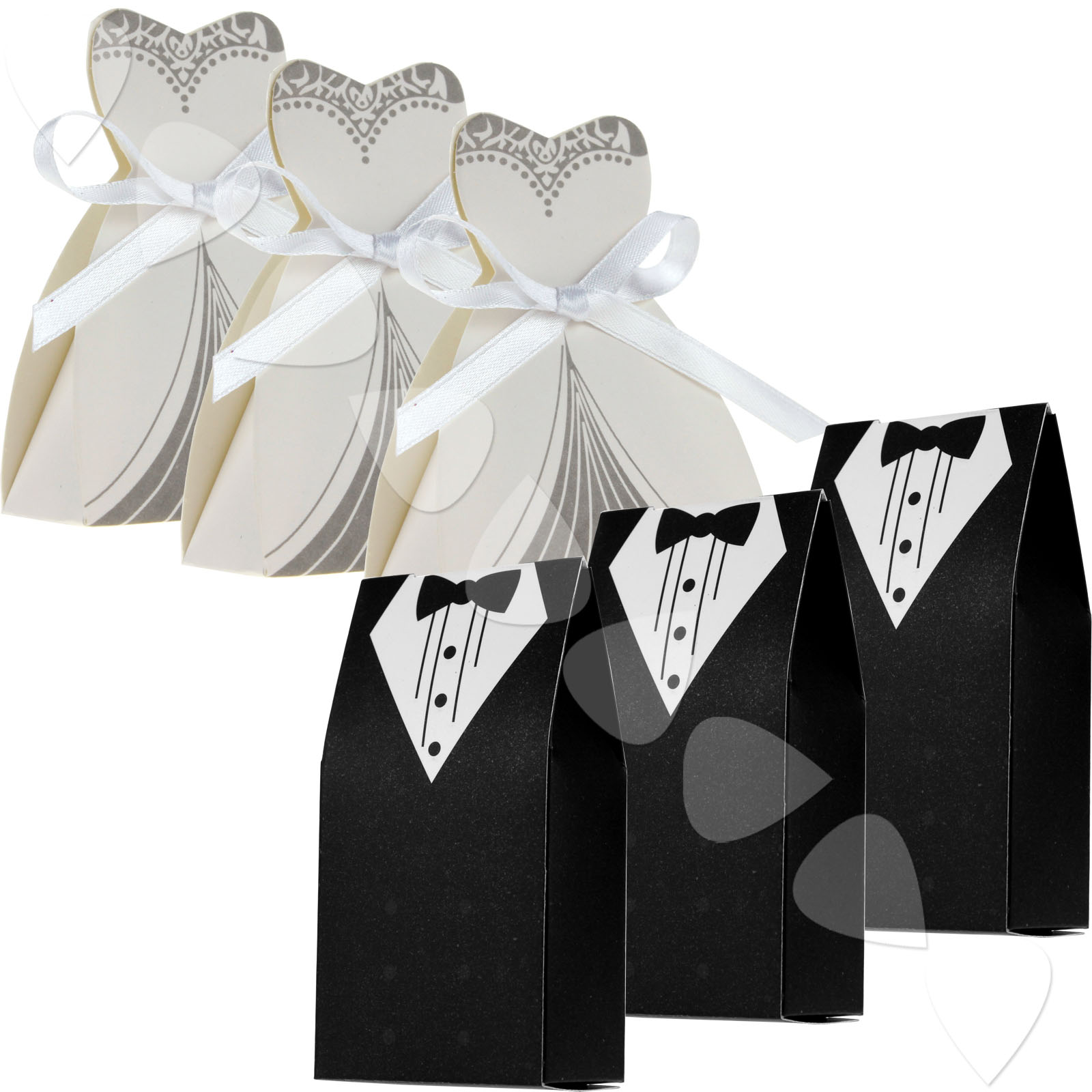 100x wedding party favor bride groom dress design lovely candy boxes ...