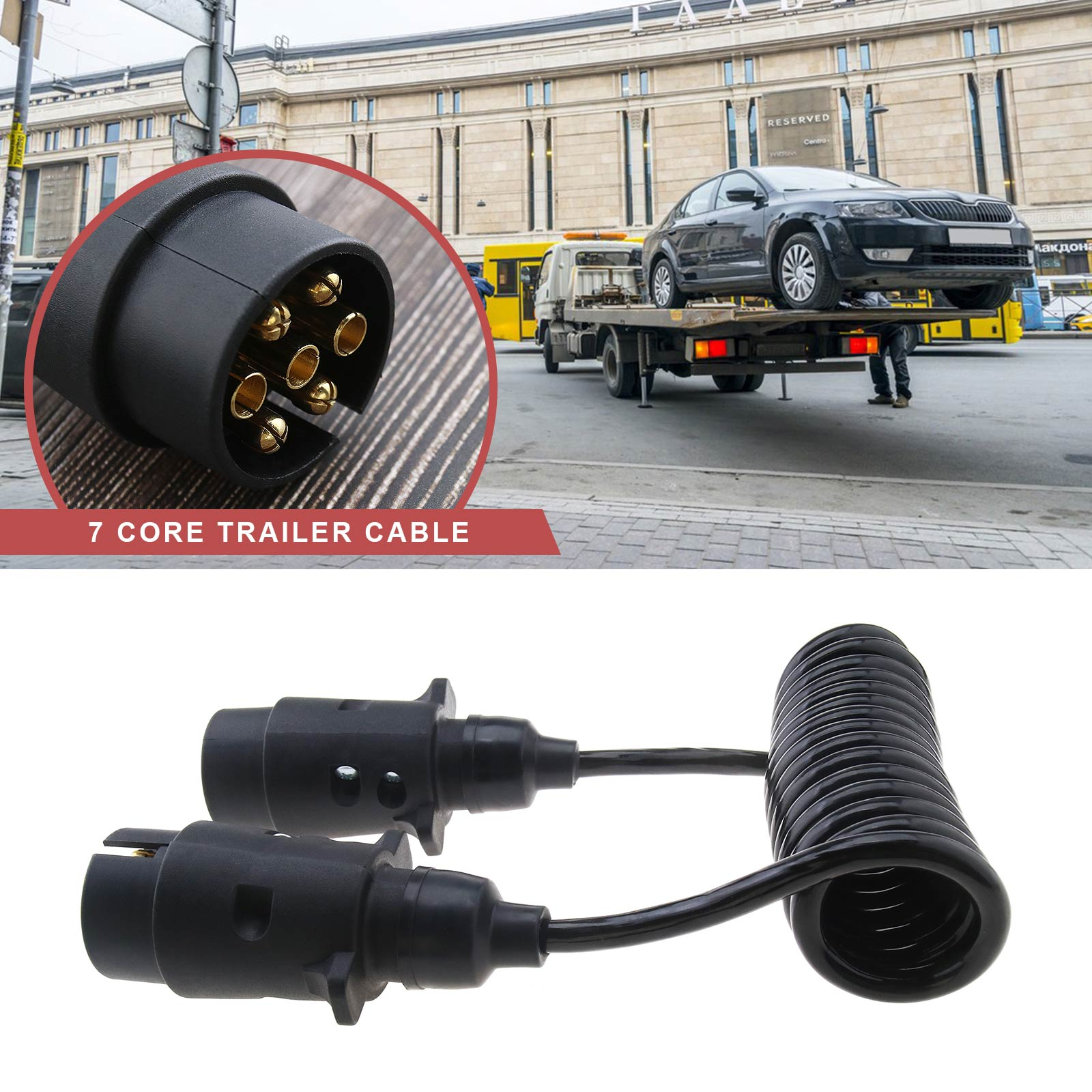 1.2M EXTENSION CURLY CABLE TRAILER LIGHT BOARD 7 PIN PLUG & SOCKET ...