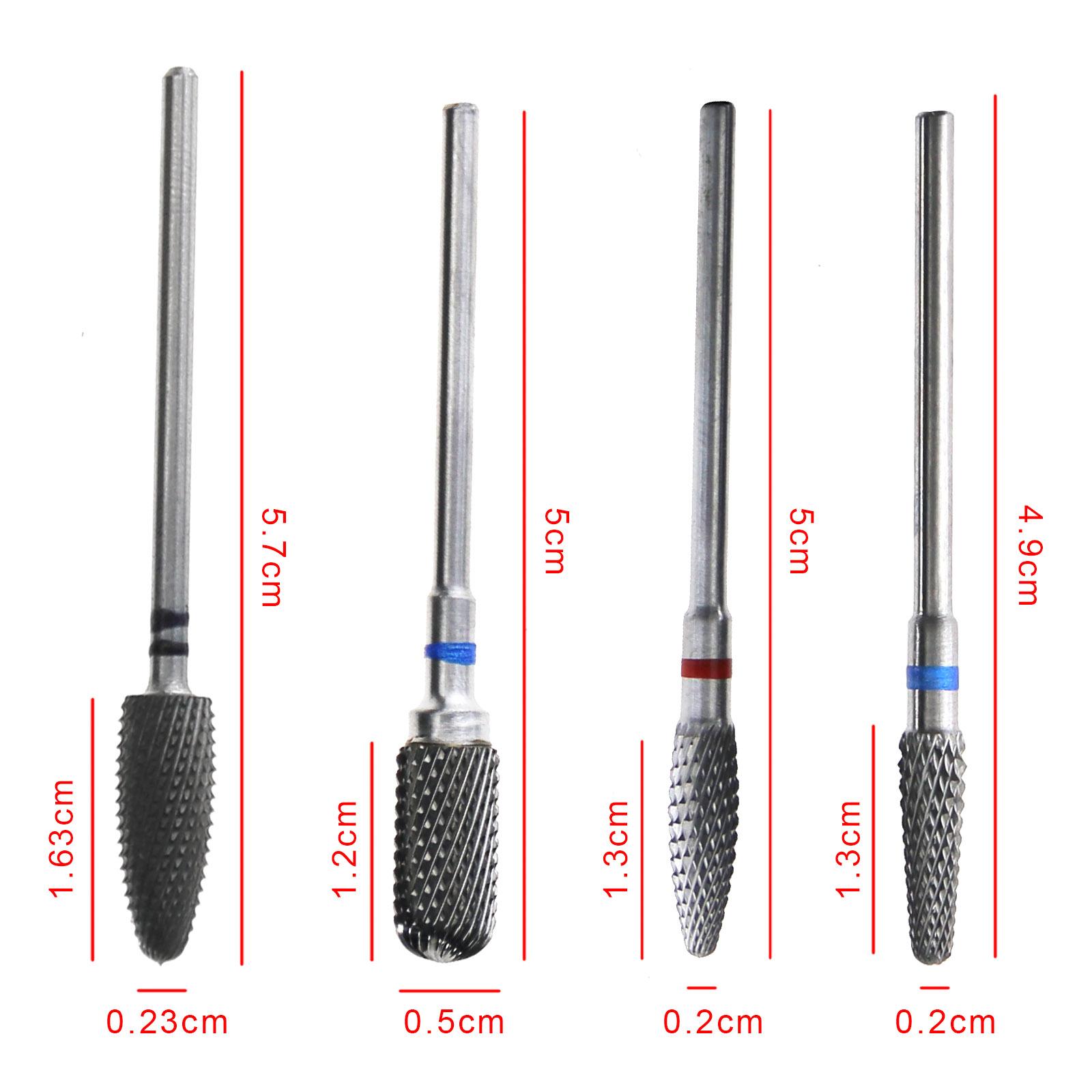5.9cm Silver Carbide Nail Drill Bits Rotate Burr Manicure Tools ...