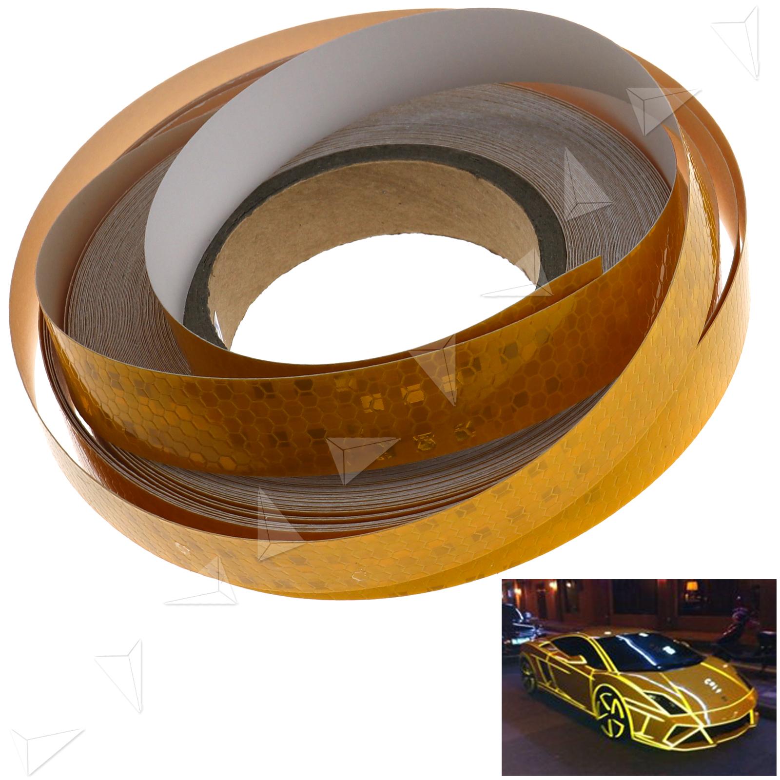 Self-Adhesive Reflective Indicator Warning Conspicuity Tape Yellow 2.5cmx25m