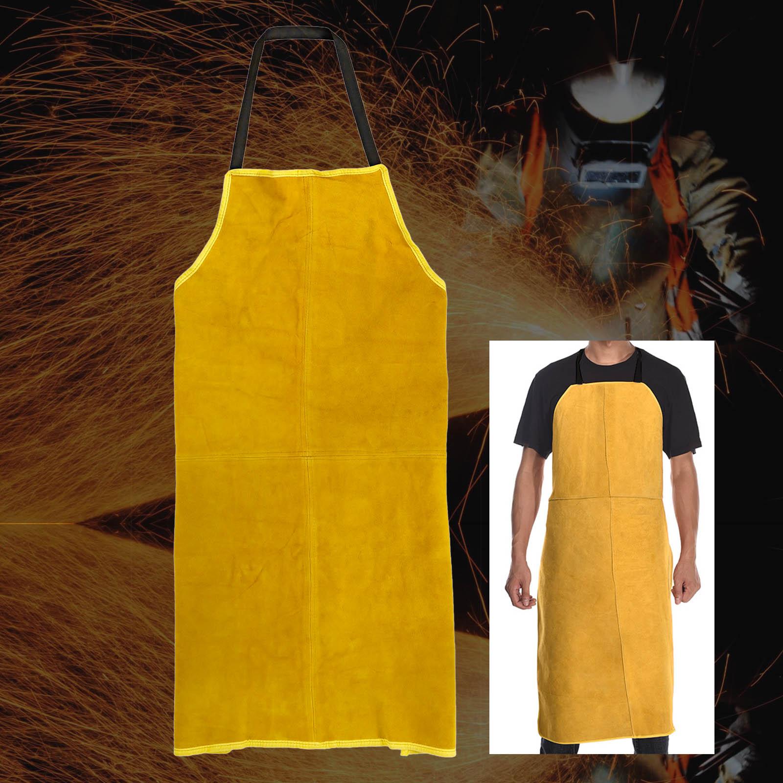 Full Cowhide Leather Electric Welding Apron Bib Blacksmith Apron Safety Clothing