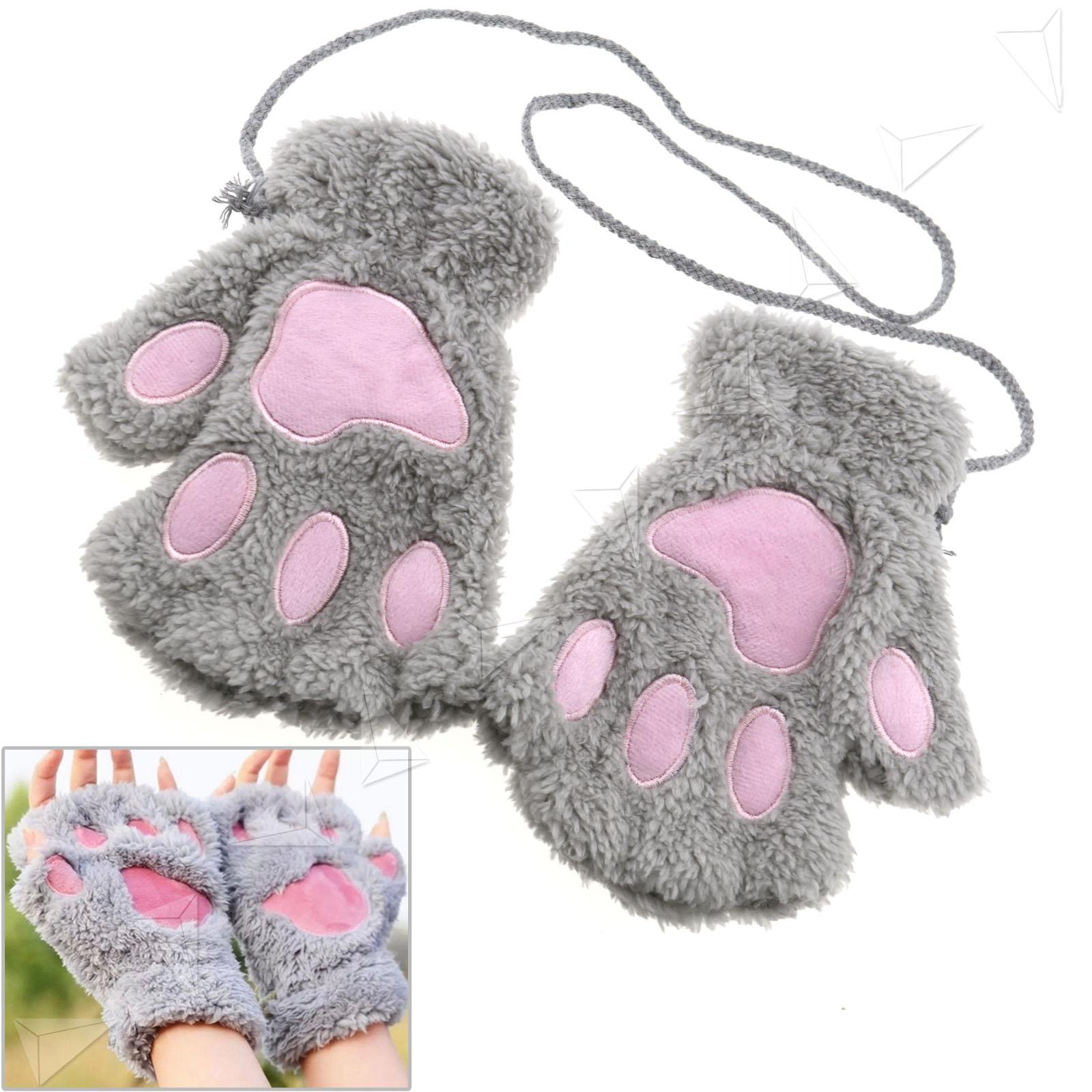 Women Girl Cat Claw Paw Lovely Soft Plush Half Finger Fingerless Warm Glove Grey