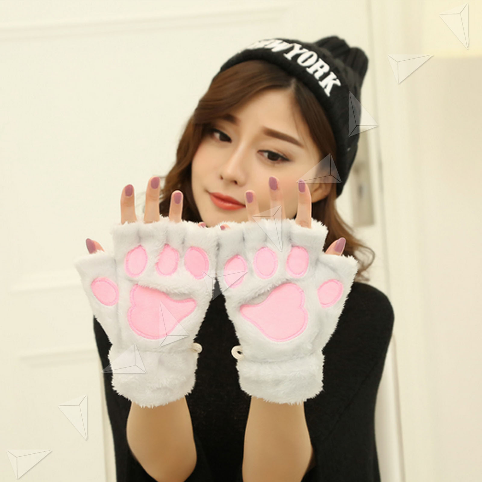Women Girl Cat Claw Paw Lovely Soft Plush Half Finger Fingerless Warm Glove Grey 3