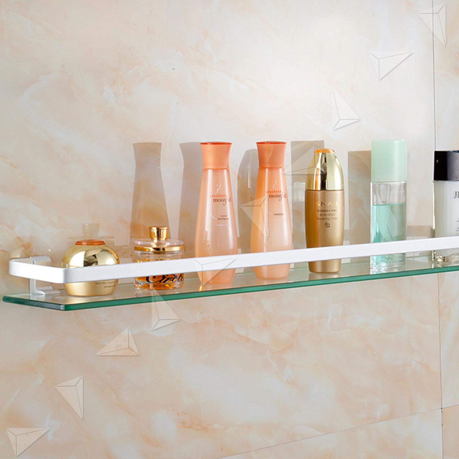 35 x 12 x 8cm Bathroom Storage Glass Gallery Wall Shelf With Chrome ...