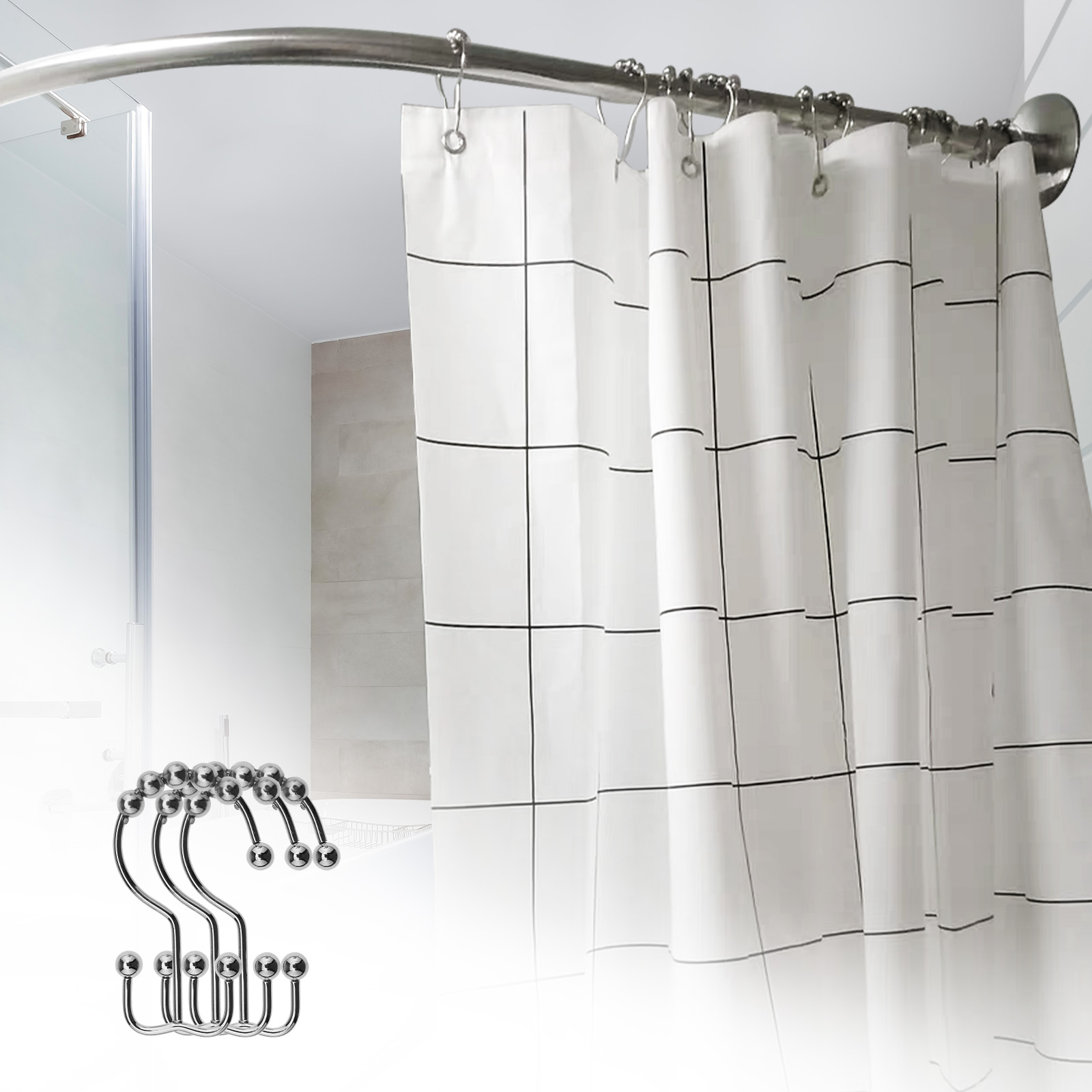 Details About 12pcs Spherical Balls Double Shower Curtain Hooks Rings Set Nickel Plated