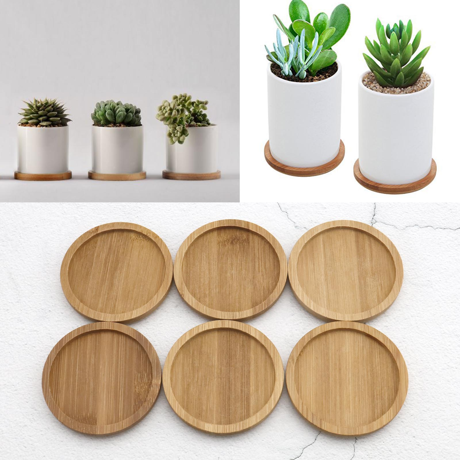 Trays 3 Inch Bamboo Round Plant Saucer Succulent Saucer For Plant Pot Flower Pot