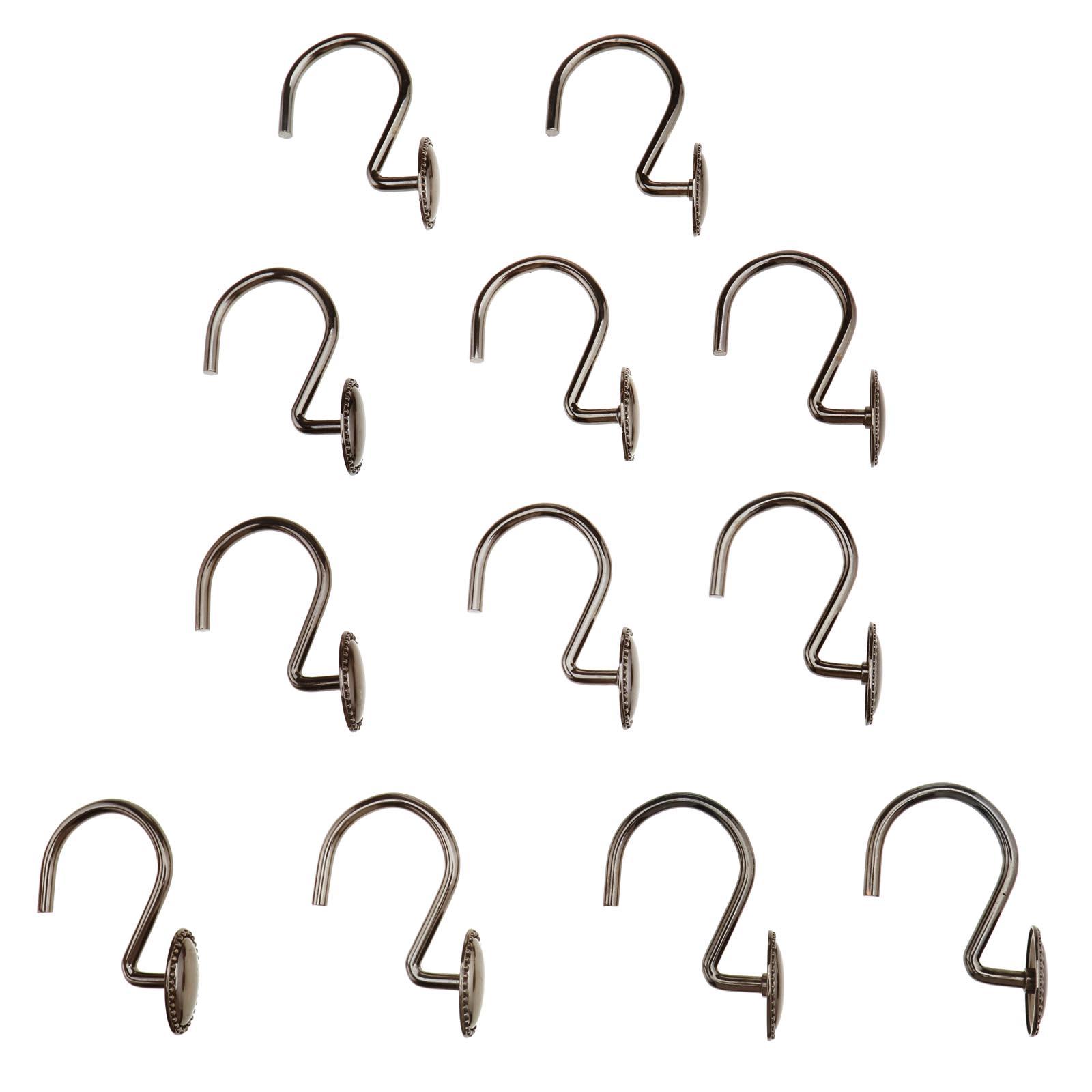 Details About Shower Curtain Hooks Rings Decorative Oval Retro Rust Proof Bathroom Bath 12pcs