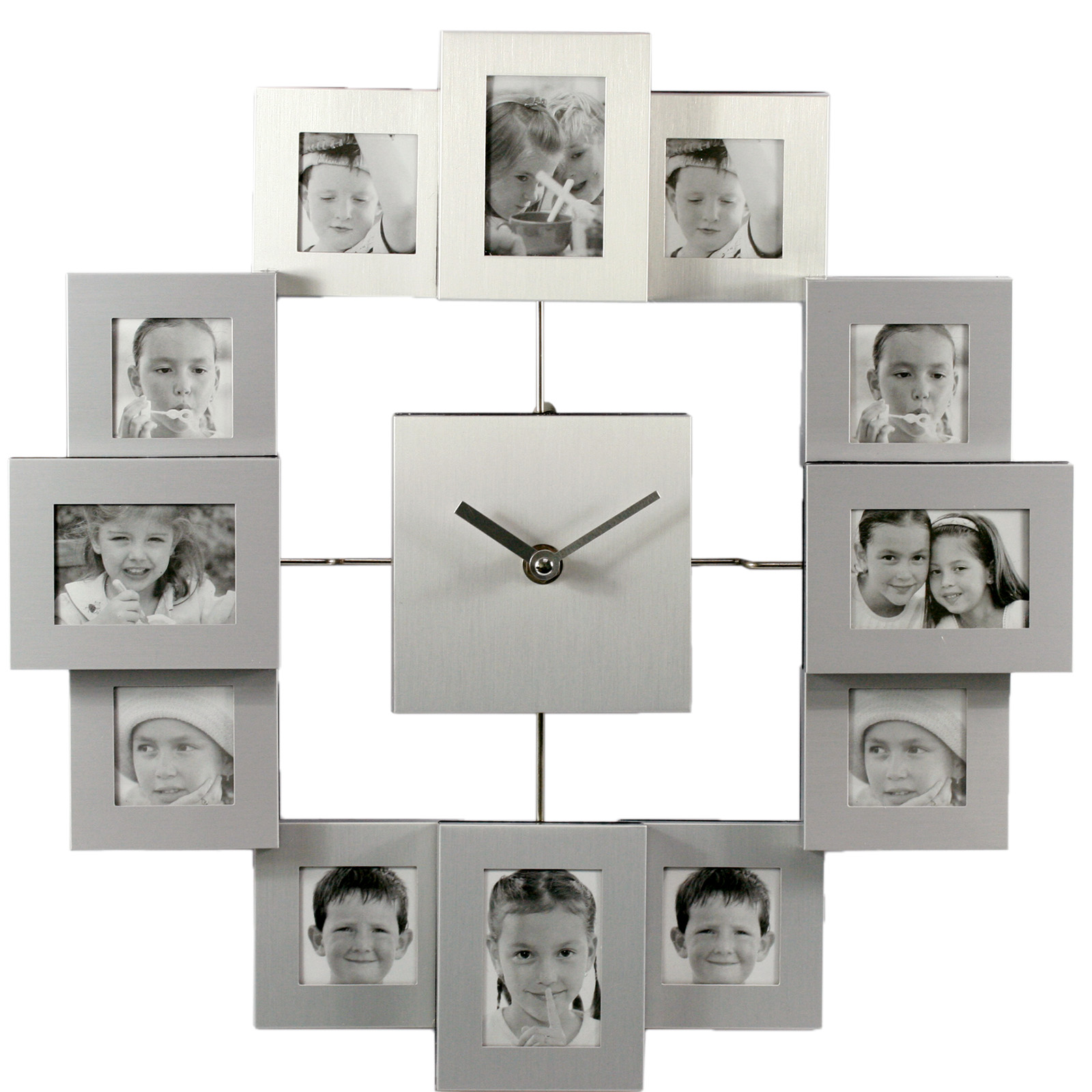 Pro Large Modern Multi Photo Frame Wall Clock Silver UK Home Design Ideas