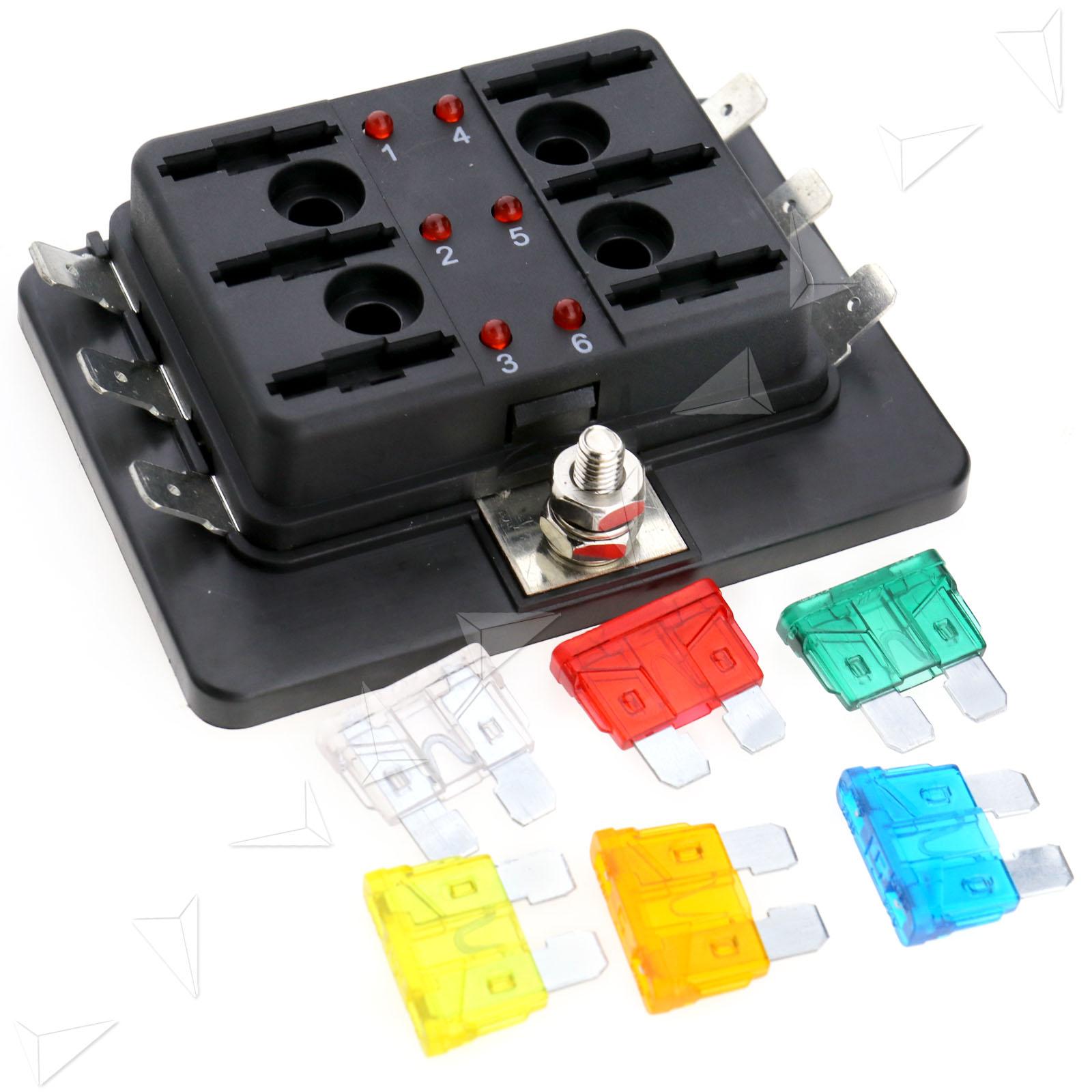 12v Fuse Box Wiring Diagram Lights 24v 6 Way Blade Holder Led Warning Kit Car Race Electric Junction