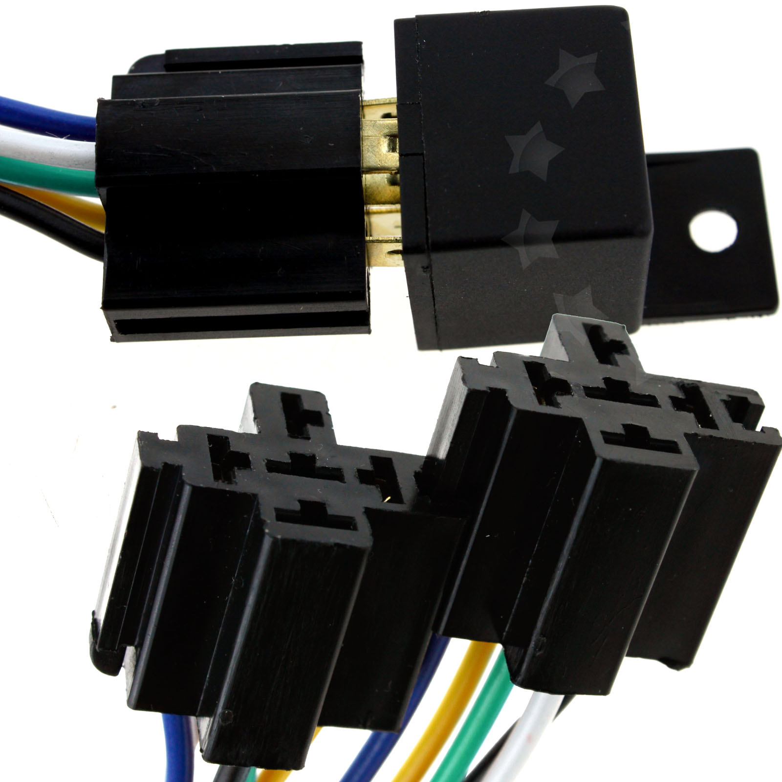 5pcs 12v 40a Pre Wired 5 Pin Auto Car Relay Mounting Base