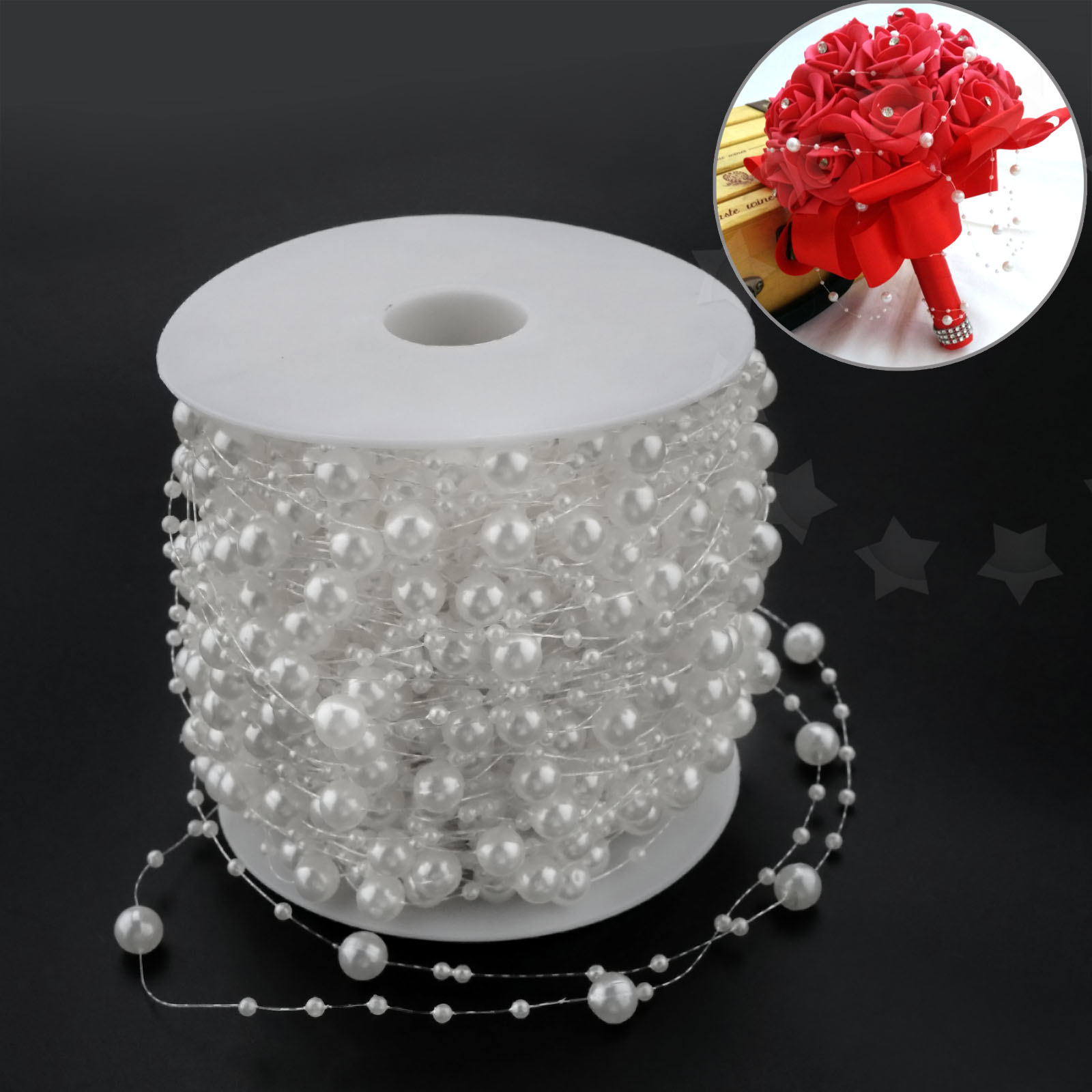 White Pearl Beads Strand Garland Acrylic Wedding Pearl: 60m ABS Acrylic White Pearl Bead String Bridal Party Xmas