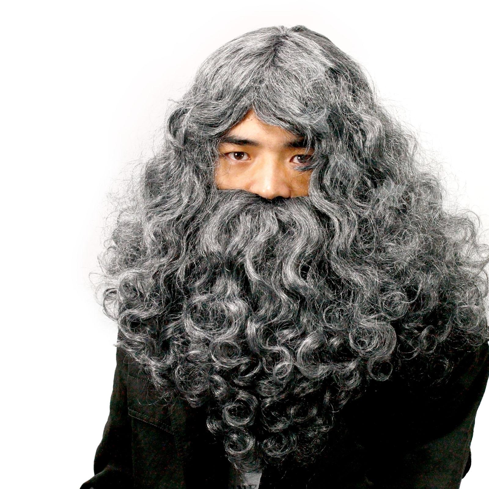 Old Men Father Christmas Cosplay Dark Grey Hairpiece ... Old Man Fake Beard