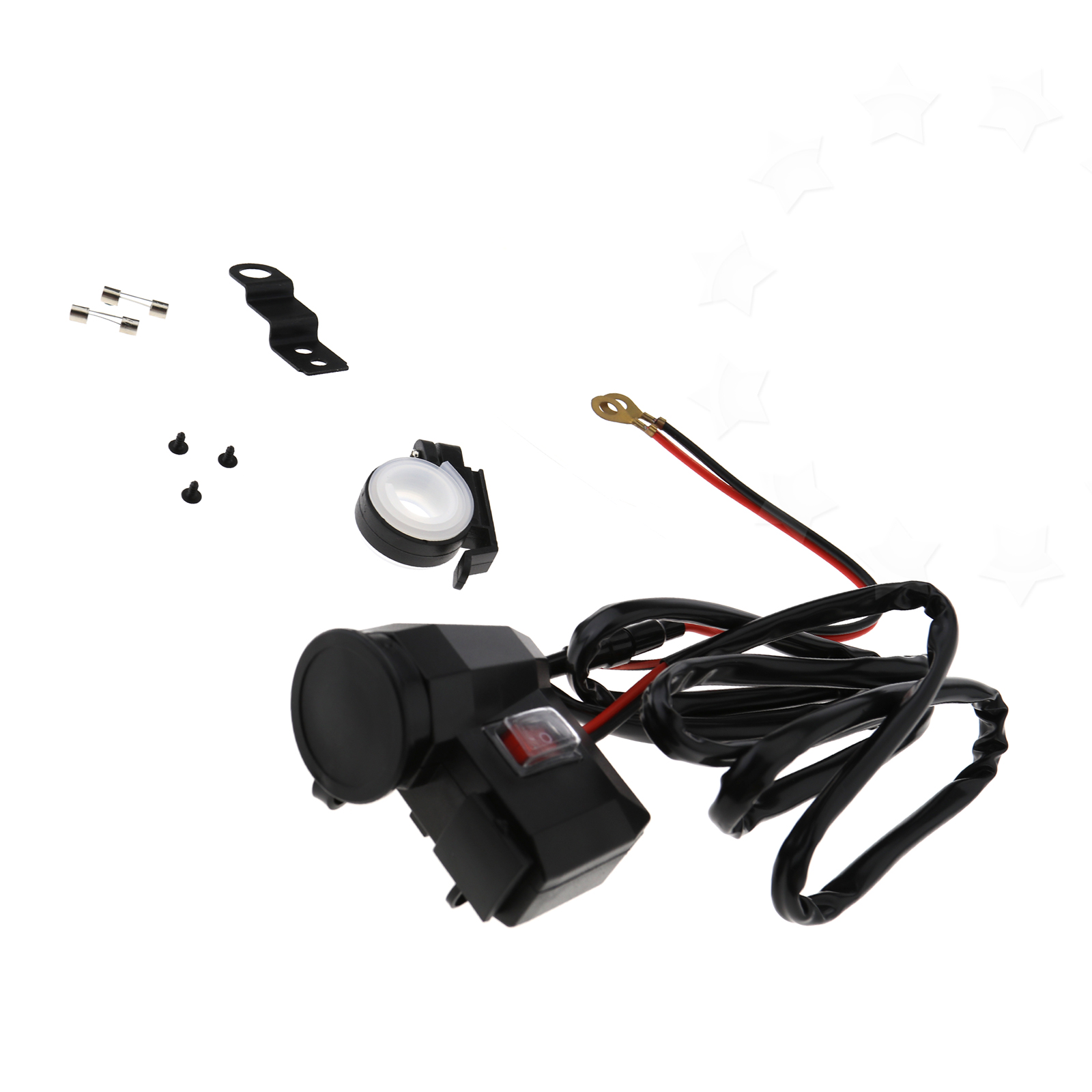Motorcycle Vehicle Cigarette Lighter Mount Socket Dual Usb With 20a Wiring On Fuse Boxes