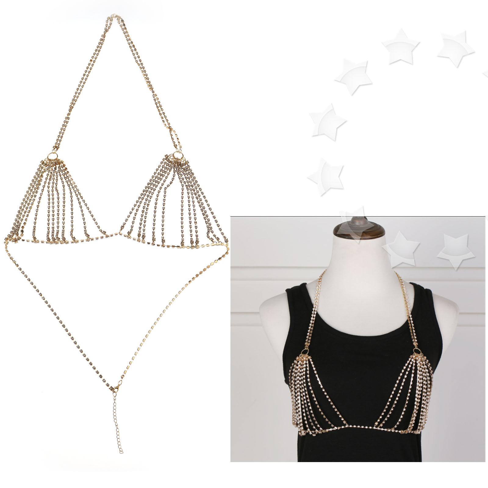 21523e4a320ed Details about Charm Shiny Crystal Rhinestone Bra Chest Harness Body Chain  Bikini Gold Silver