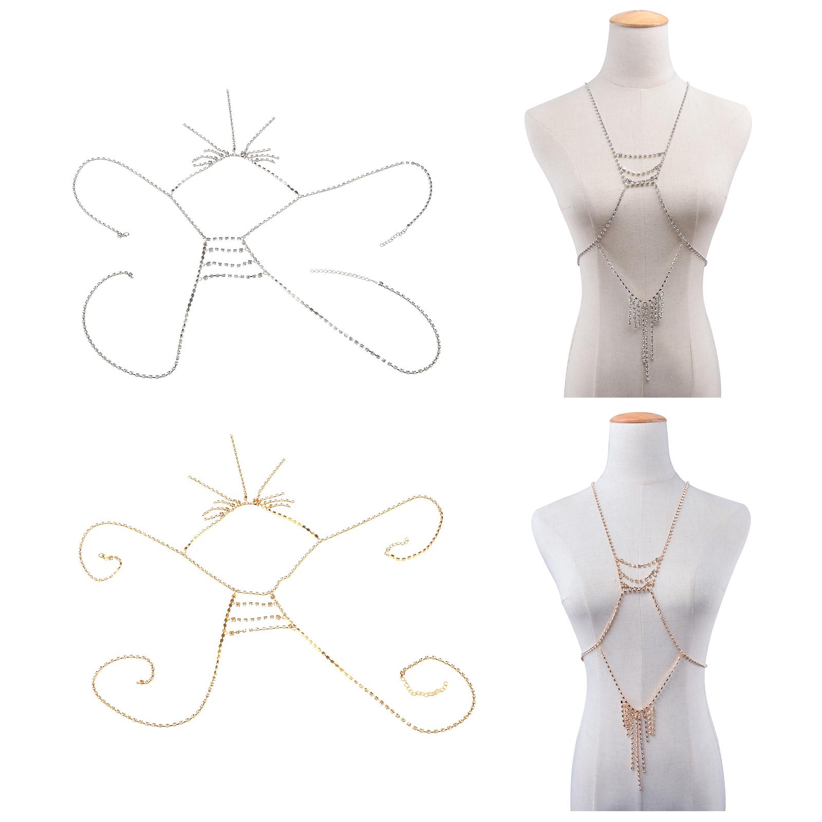 4b3b9792909 Women Bikini Rhinestone Harness Sexy Belly Waist Body Chain Neckline Jewelry