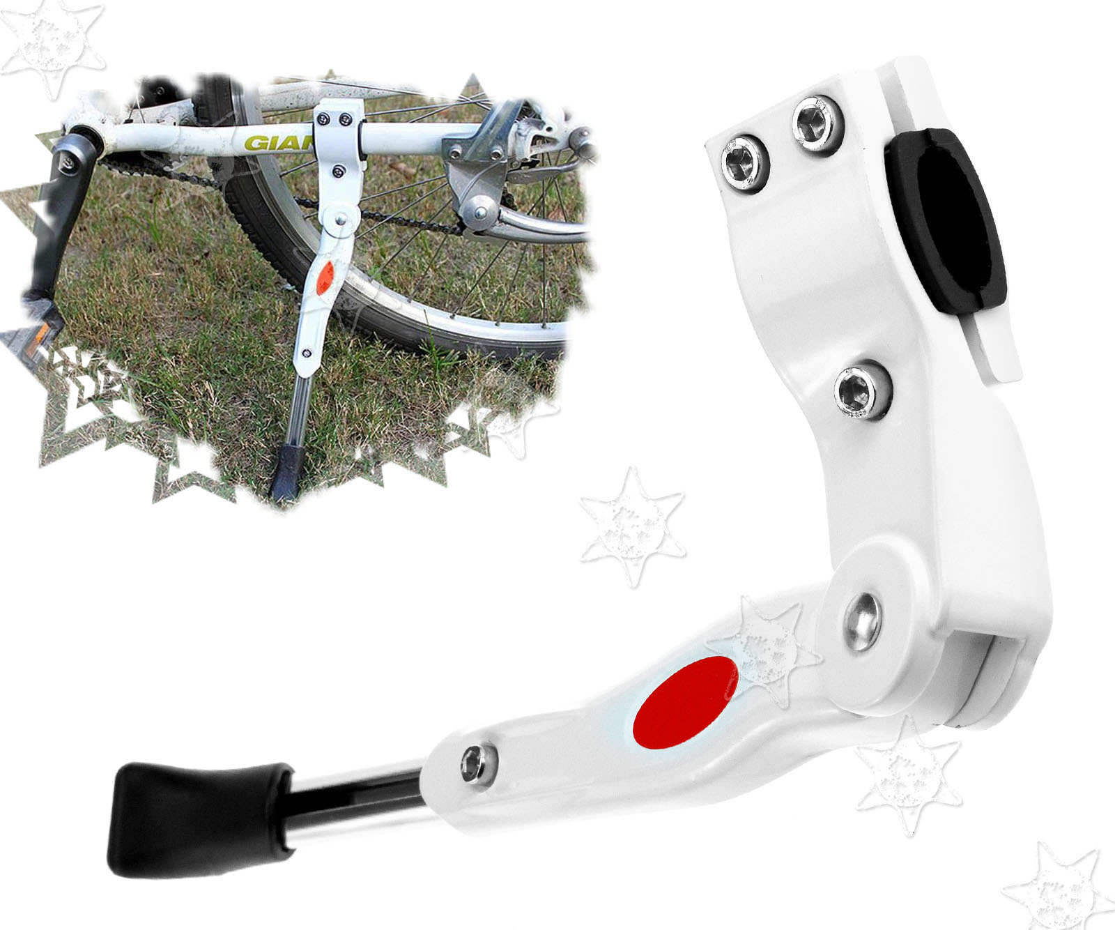 MTB Road Bike Mountain Bicycle Adjustable Alloy Bike Side Kickstand White