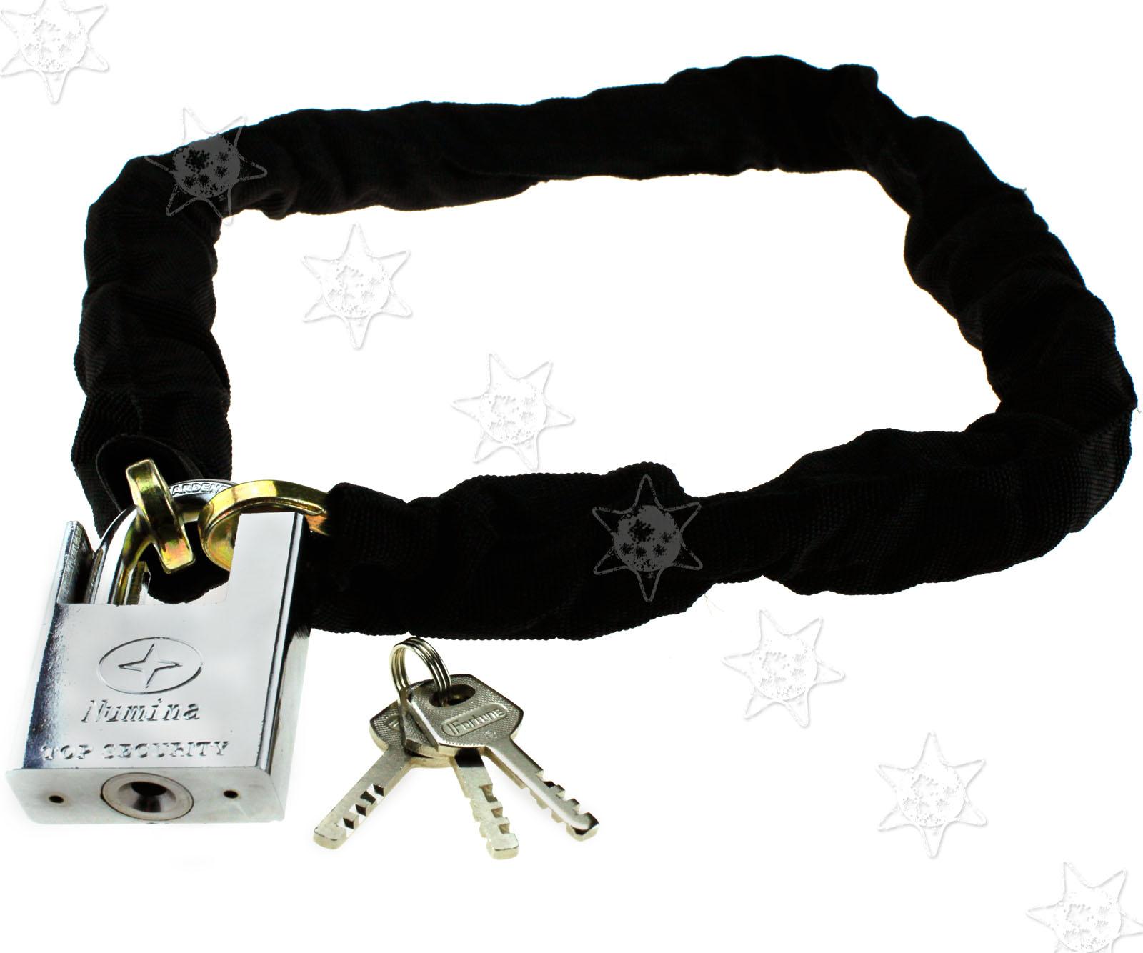 High Security Motorcycle Bike Bicycle Chain Padlock Lock Nylon Steel 7.5mm-100cm