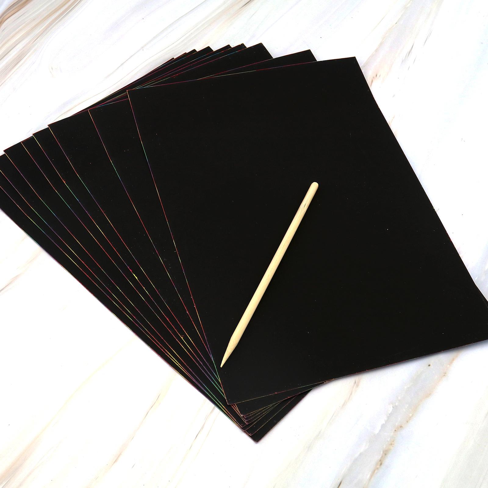 Kratzbilder 20er-Blätter Kinder Spielzeug Bastel Papier mit Holzgriffel Stock