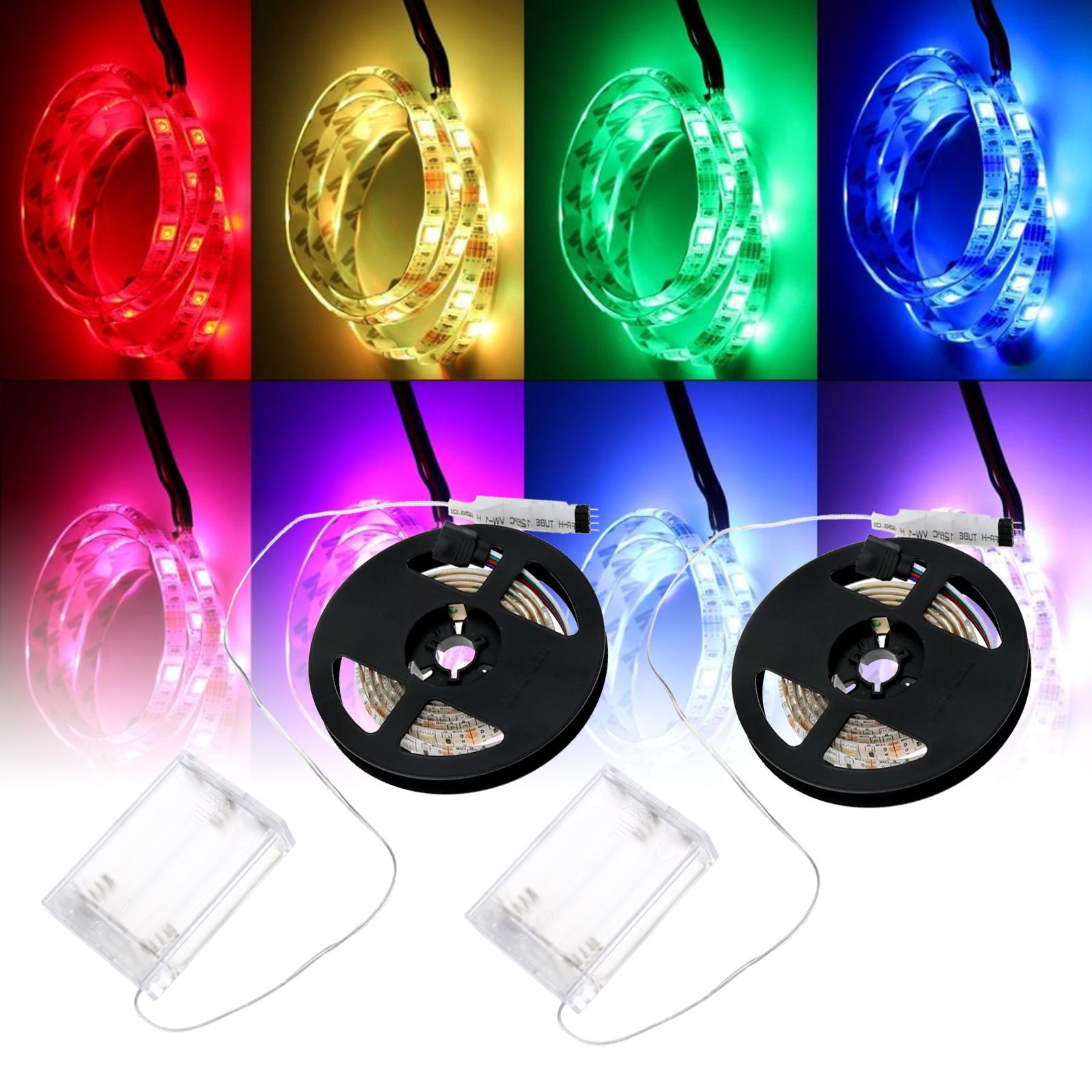 2m 5050 SMD LED Stripe Lichter Leiste Streifen Band mit USB Kabel Anschluss blau