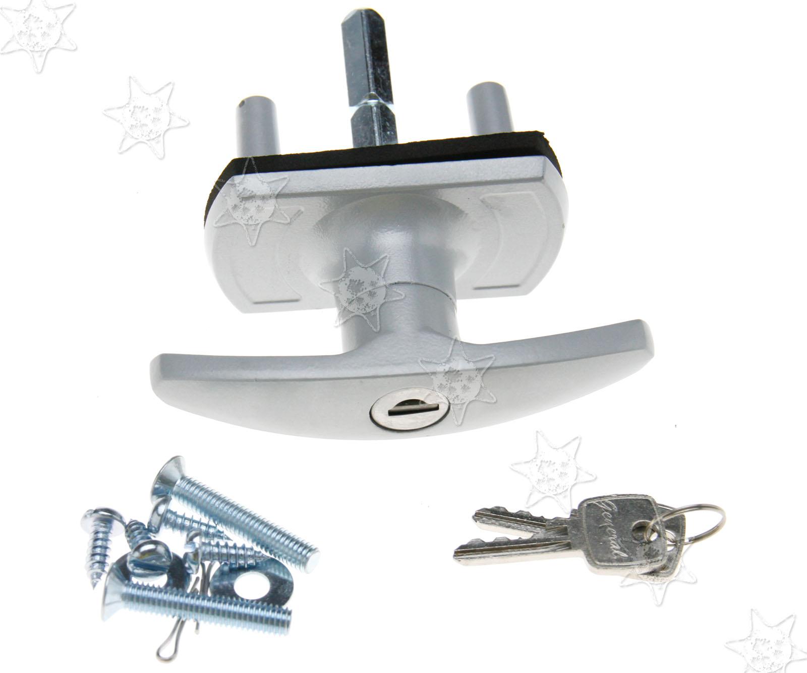 Silver Black T Handle Garage Door Lock 18 35mm Fixing