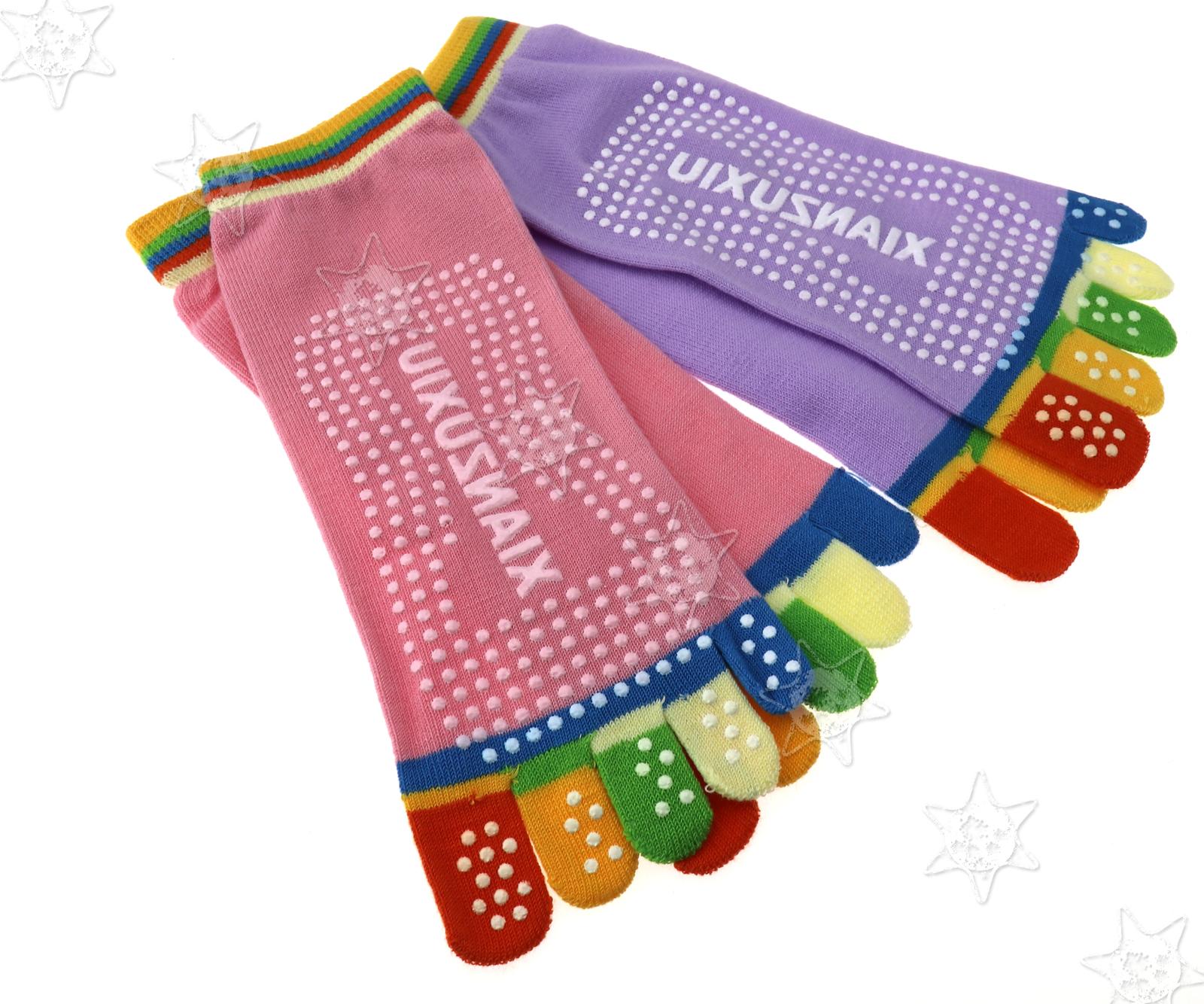 4x Yoga Socken Sneaker Haussocken Fünf Zehen 20cm-25cm Rosa Purpurrot KIT