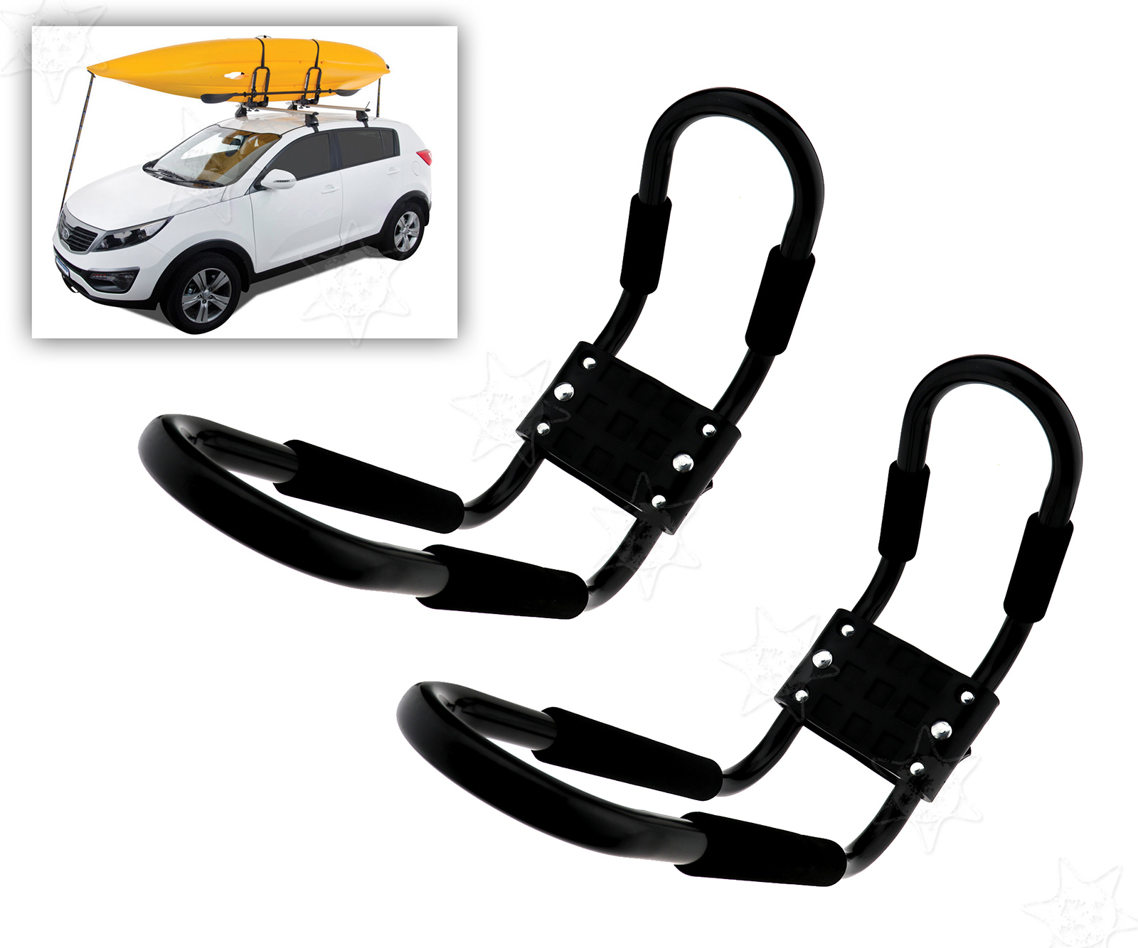 Kayak Roof Rack J Bars With 2 Tie Down Straps Car Carrier