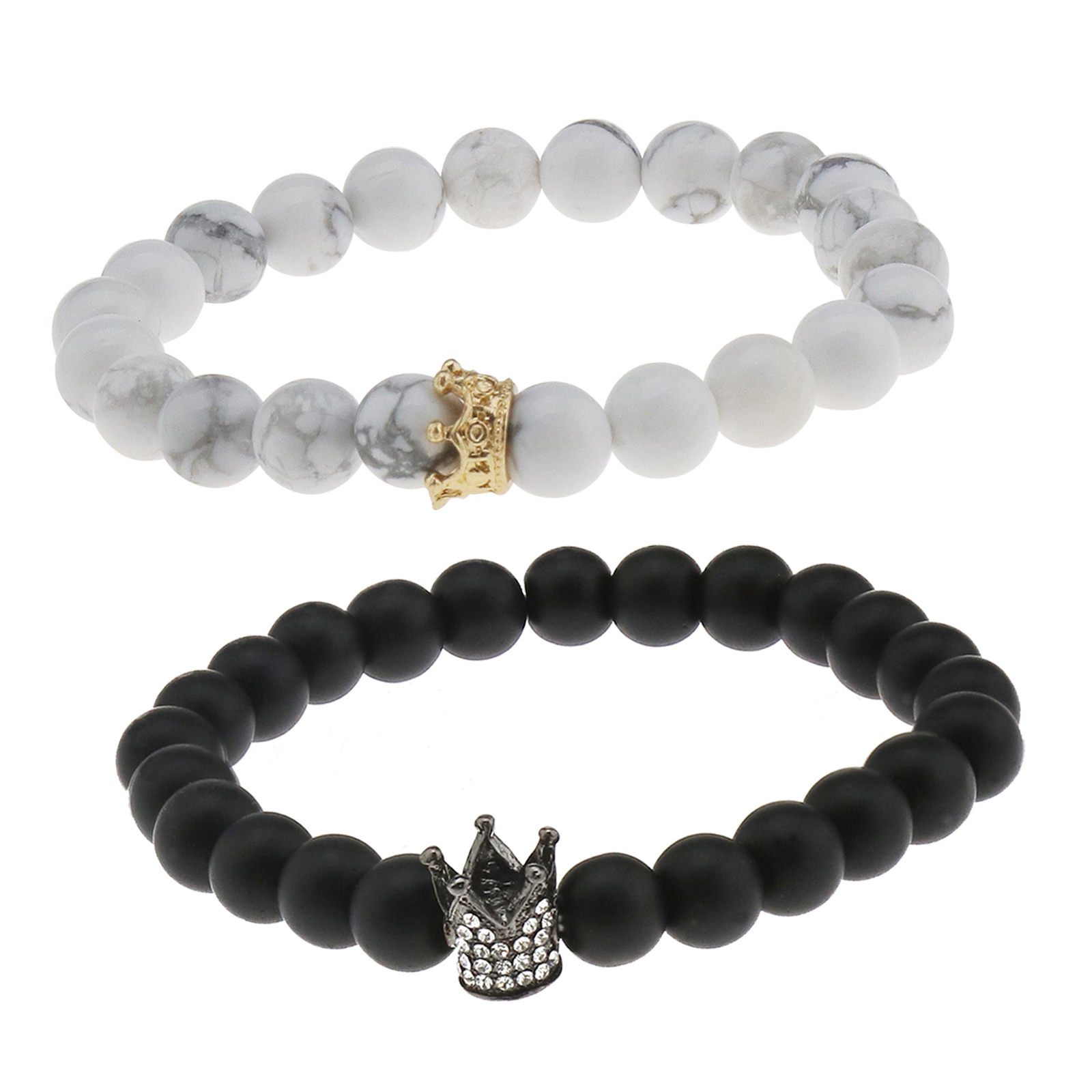 a390f358d4 2Pcs Couple King Queen Crown Bracelets His And Her Friendship Beads Bracelet  8mm