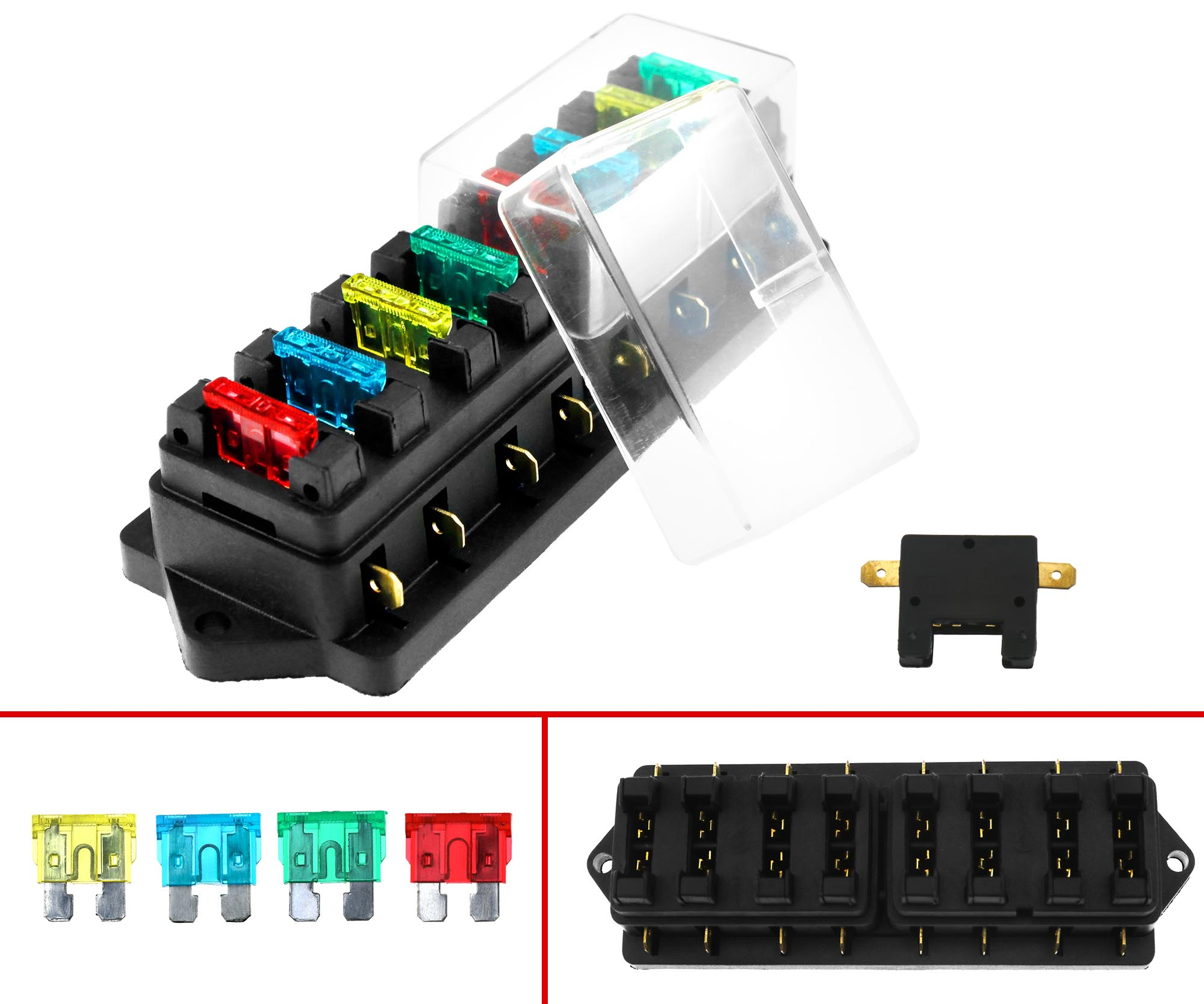 12v 24v 8 way universal car truck circuit standard blade fuse box holder block ebay. Black Bedroom Furniture Sets. Home Design Ideas