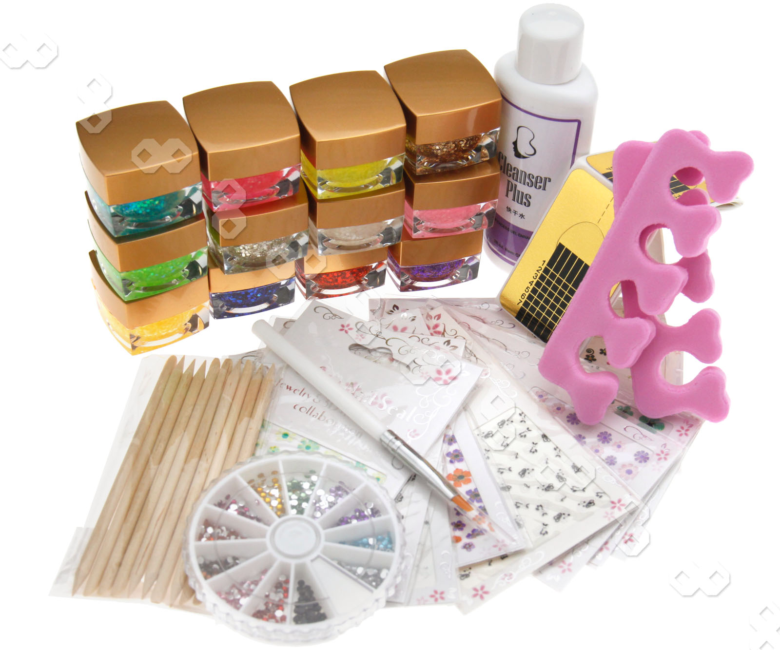 Nail Art Starter Kit: 12 Pots UV Nail Art Pearl Colors Gel + Starter Kit