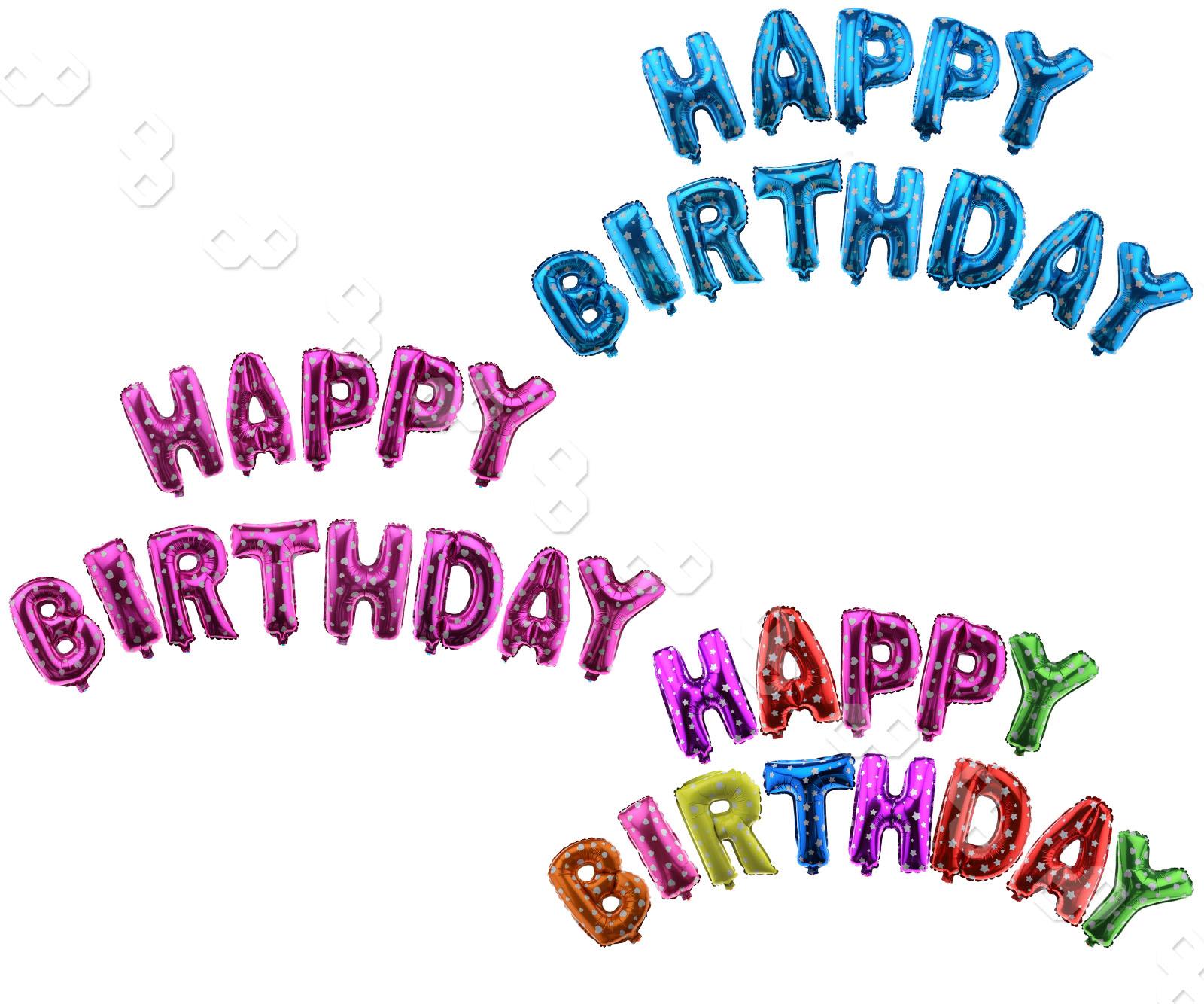 "13pcs 16"" Happy Birthday Letters Foil Balloon Banner Set"