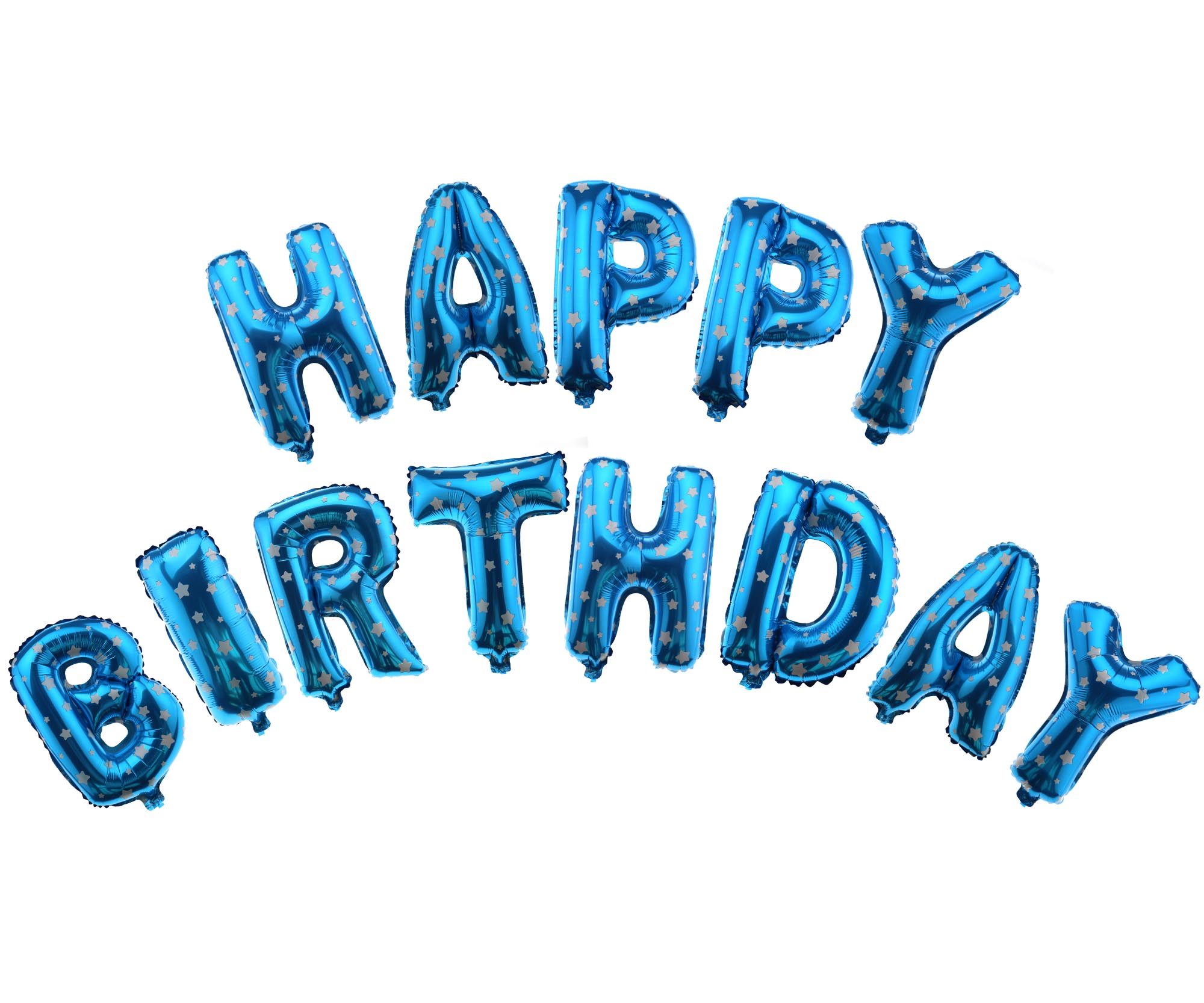 """16/"""" Blue with Pattern Happy Birthday Banner Foil Balloon Bunting Ballons"""