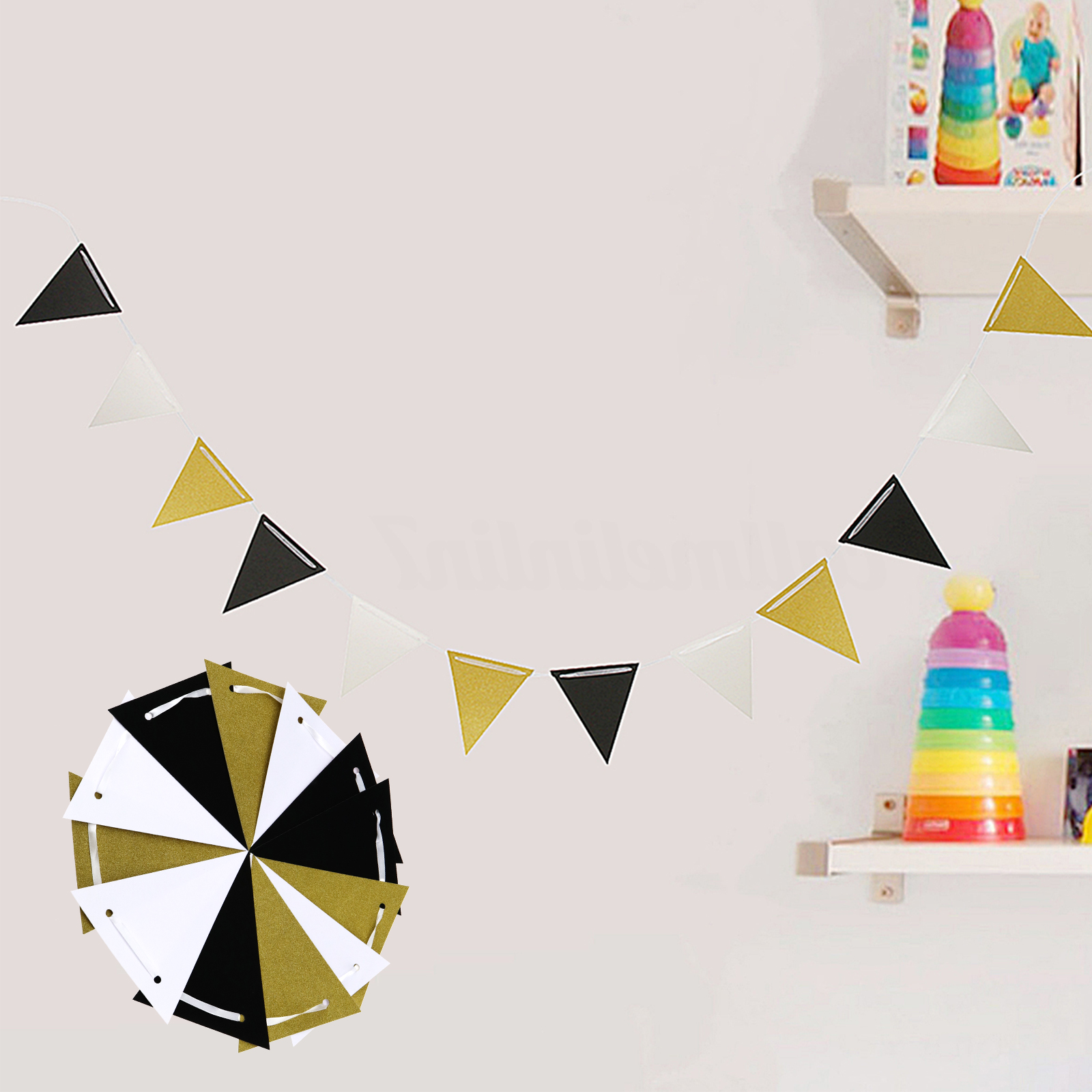 12ft Black White Gold Glitter Triangle Paper Flag String Banner