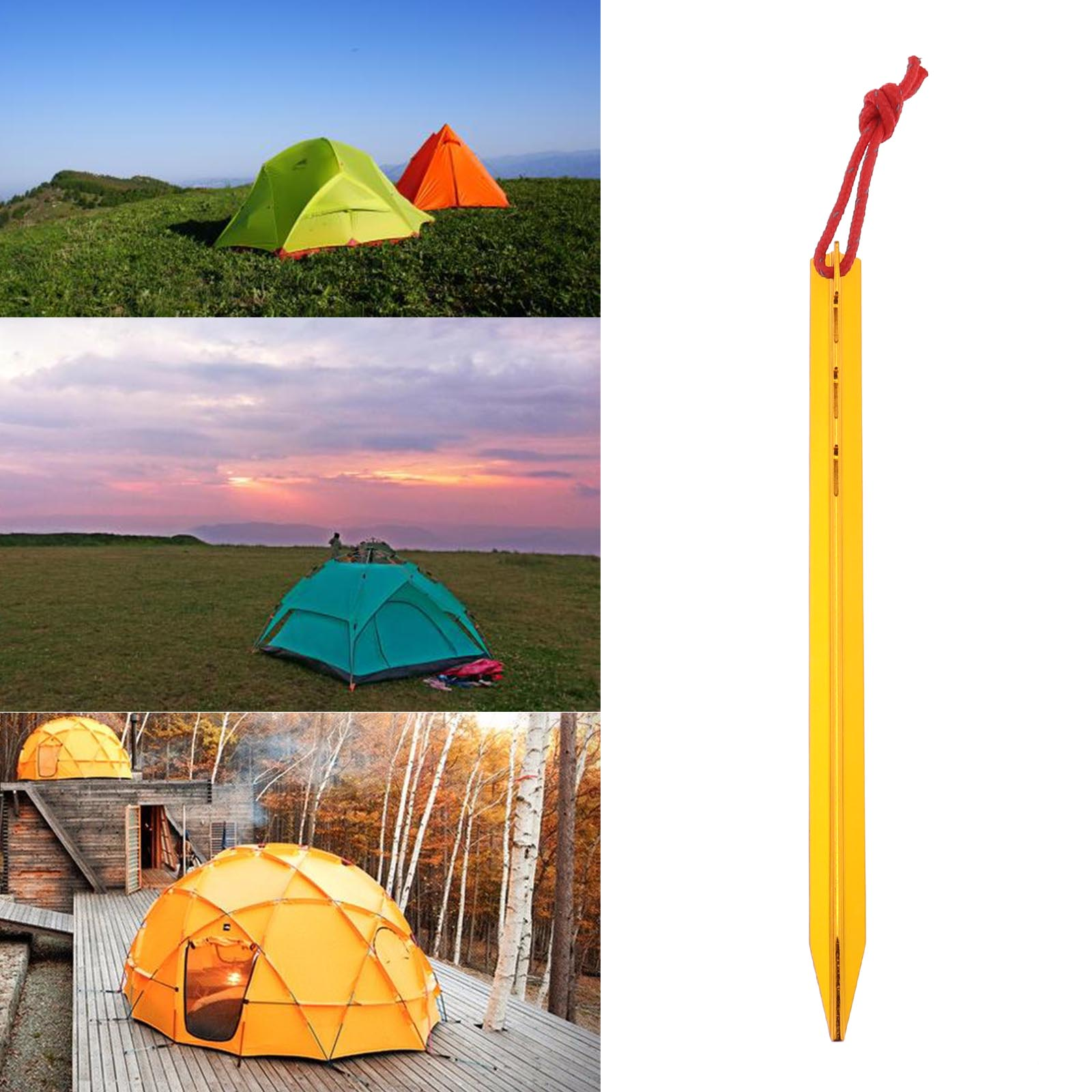 20pcs Tent Nails Outdoor Camping Trip Tent Ground Sand Pegs Golden Durable