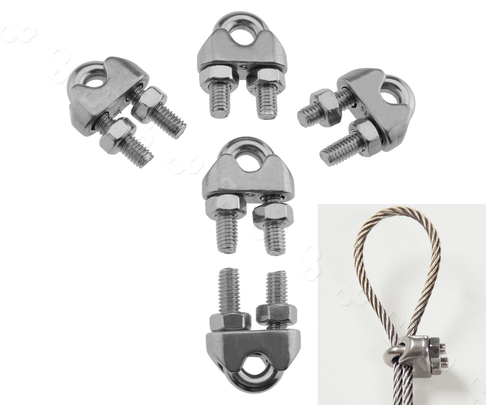 12mm Diameter 304 Stainless Steel Wire Rope Cable Clip Clamping Ring Accessories