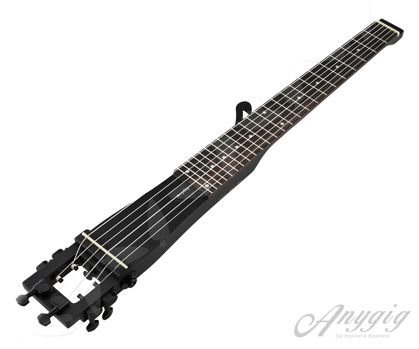 anygig agn nylon string full scale length travel guitar classical type black 735548263630 ebay. Black Bedroom Furniture Sets. Home Design Ideas