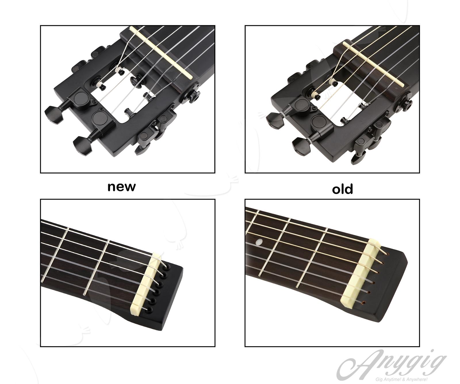 anygig agn nylon string full scale length travel guitar classical type black 735548263630 ebay. Black Bedroom Furniture Sets. Home Design Ideas