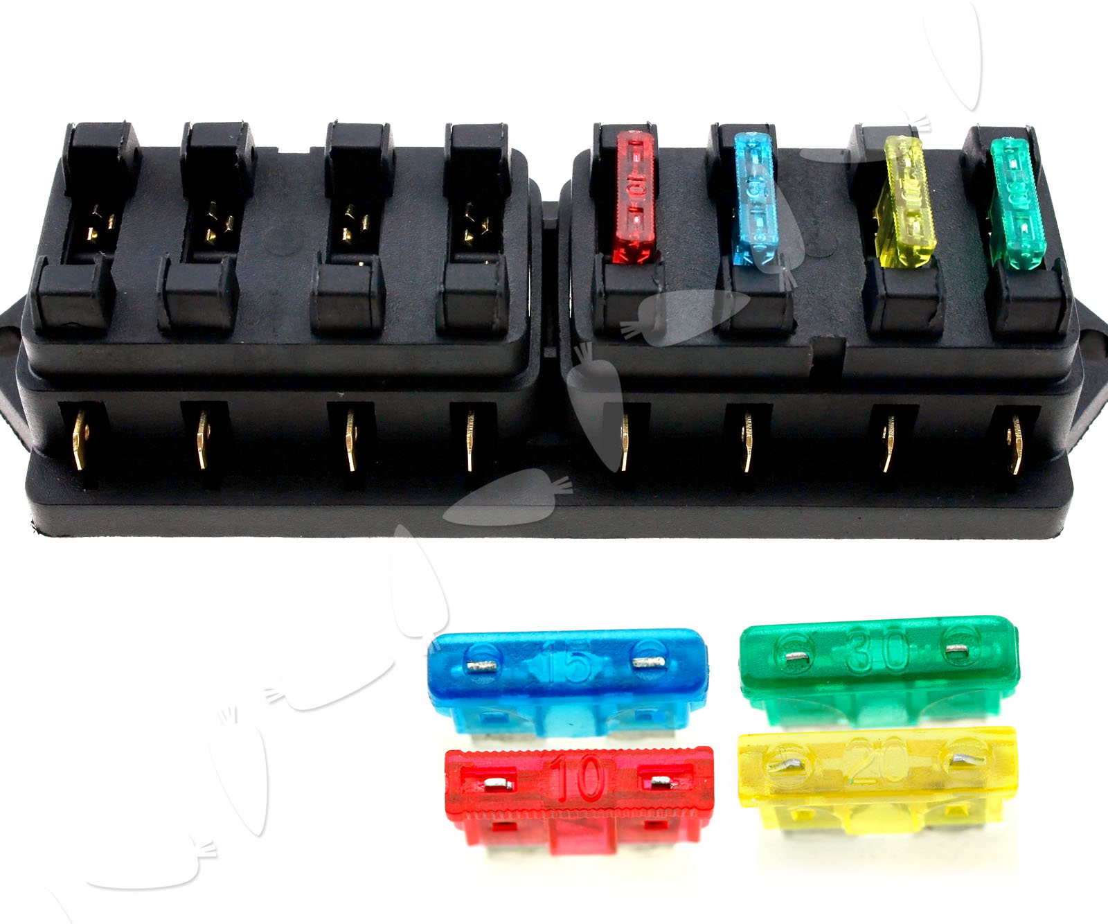 Universal Car Truck 8 Way Circuit Standard Blade Fuse Box Holder