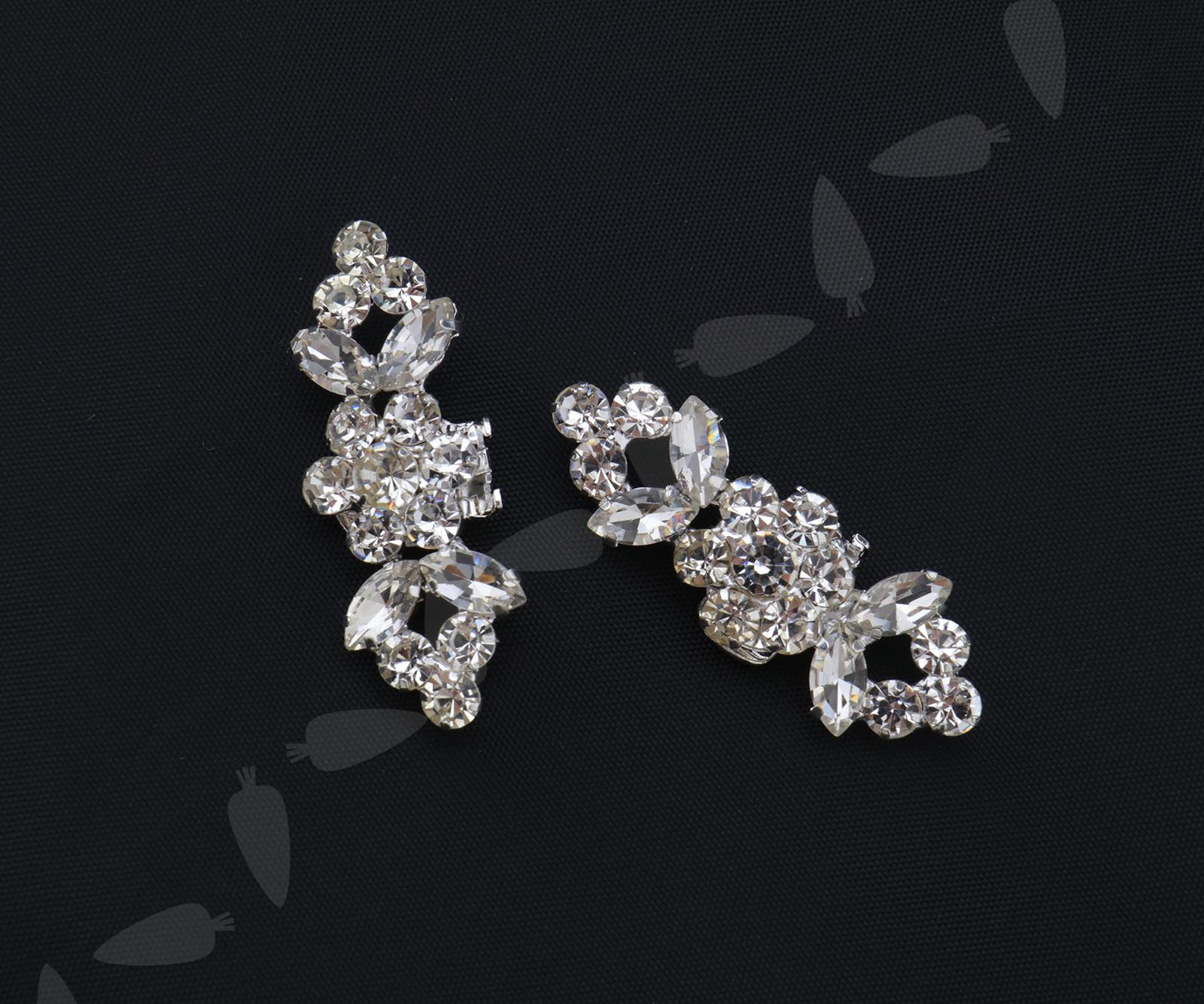 2X Charm Crystal Rhinestone Diamante Wedding Lady Shoe Clips Buckle Decor