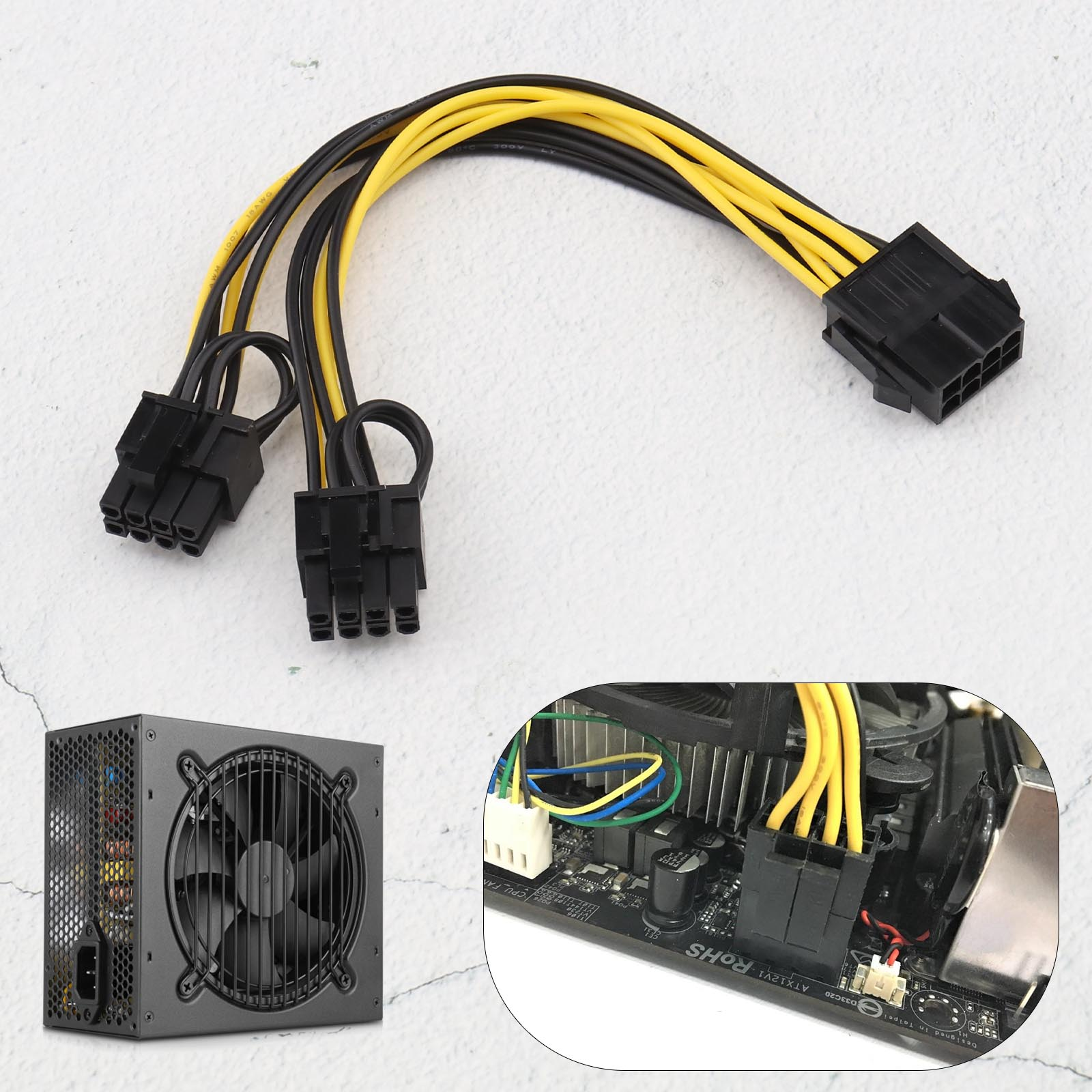 Details about Dual 6 Pin Female To 8 Pin Male PCIE VGA Power Cable for  NVIDIA ATI RADEON