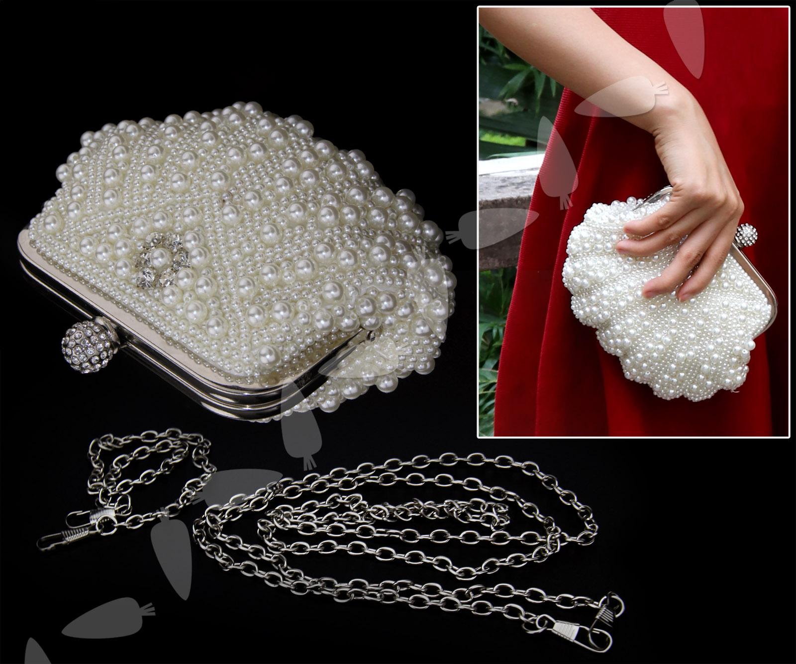 """/""""NEU/"""" Perlen Brauttasche Abendtasche Tasche Clutch mit Kette Perlentasche Braut"""