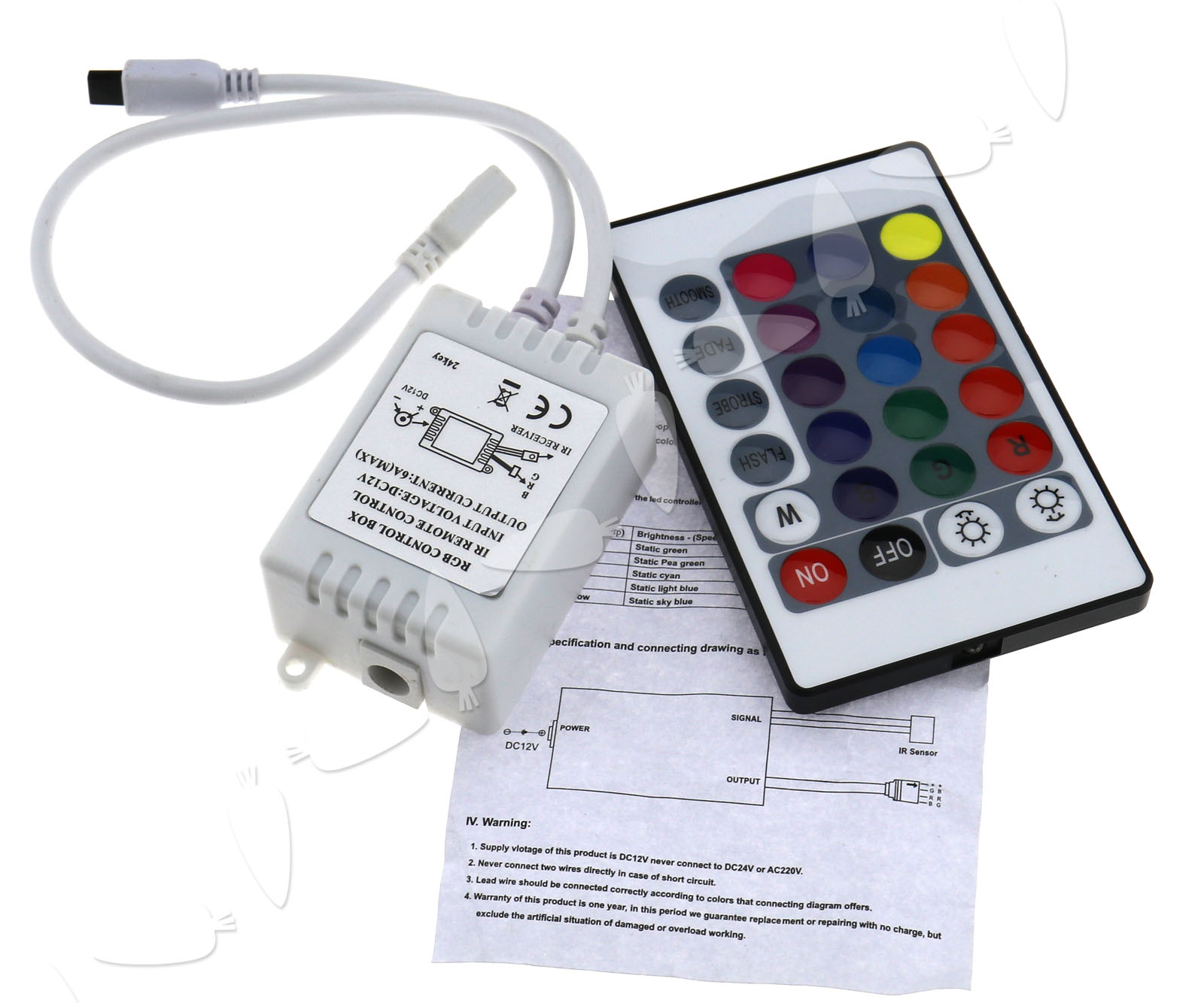12v 24 Key Ir Remote Control Box For Rgb Led 3528 5050 Smd Strip Colour Controller Connection Diagram Lights