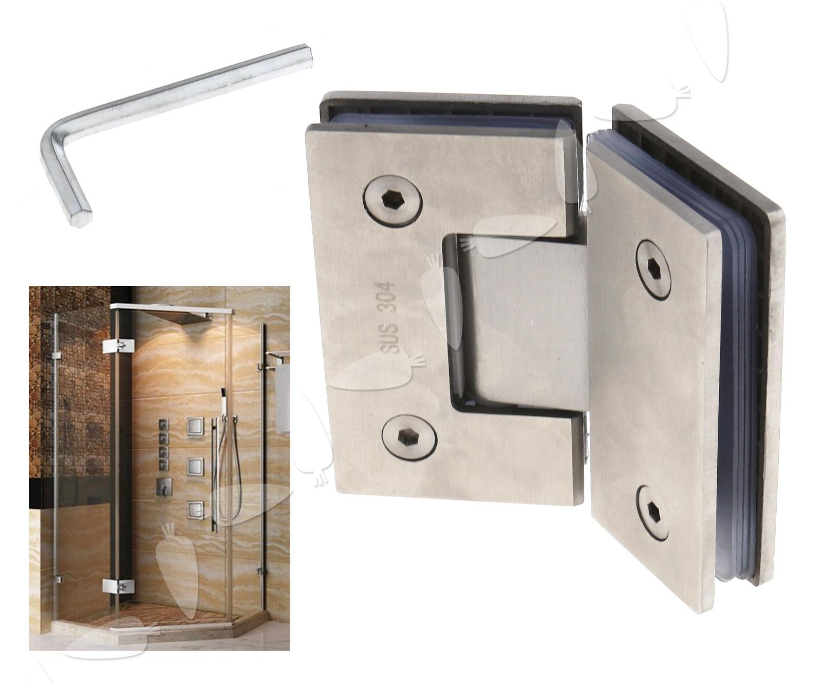 135° 304 Stainless Steel Frameless Glass Hinges For Inset Shower ...